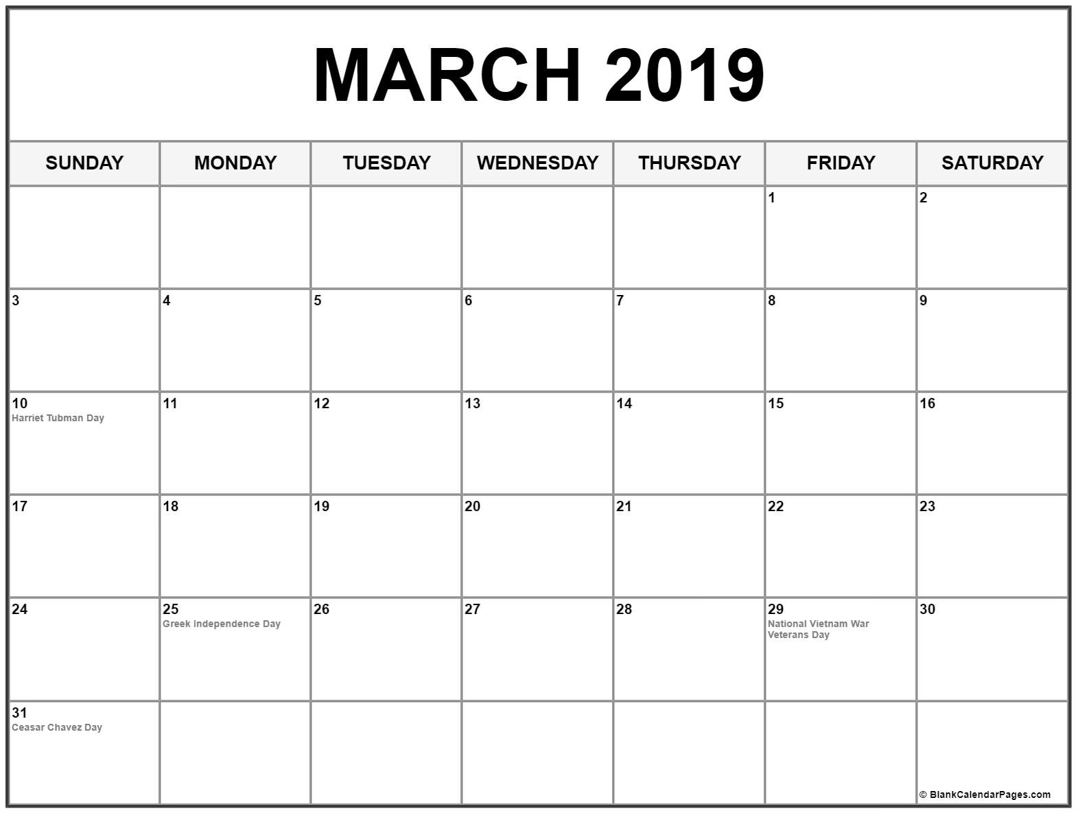 March 2019 Calendar Blank Template - Printable Calendar 2019| Blank inside National Day Calendar Blank