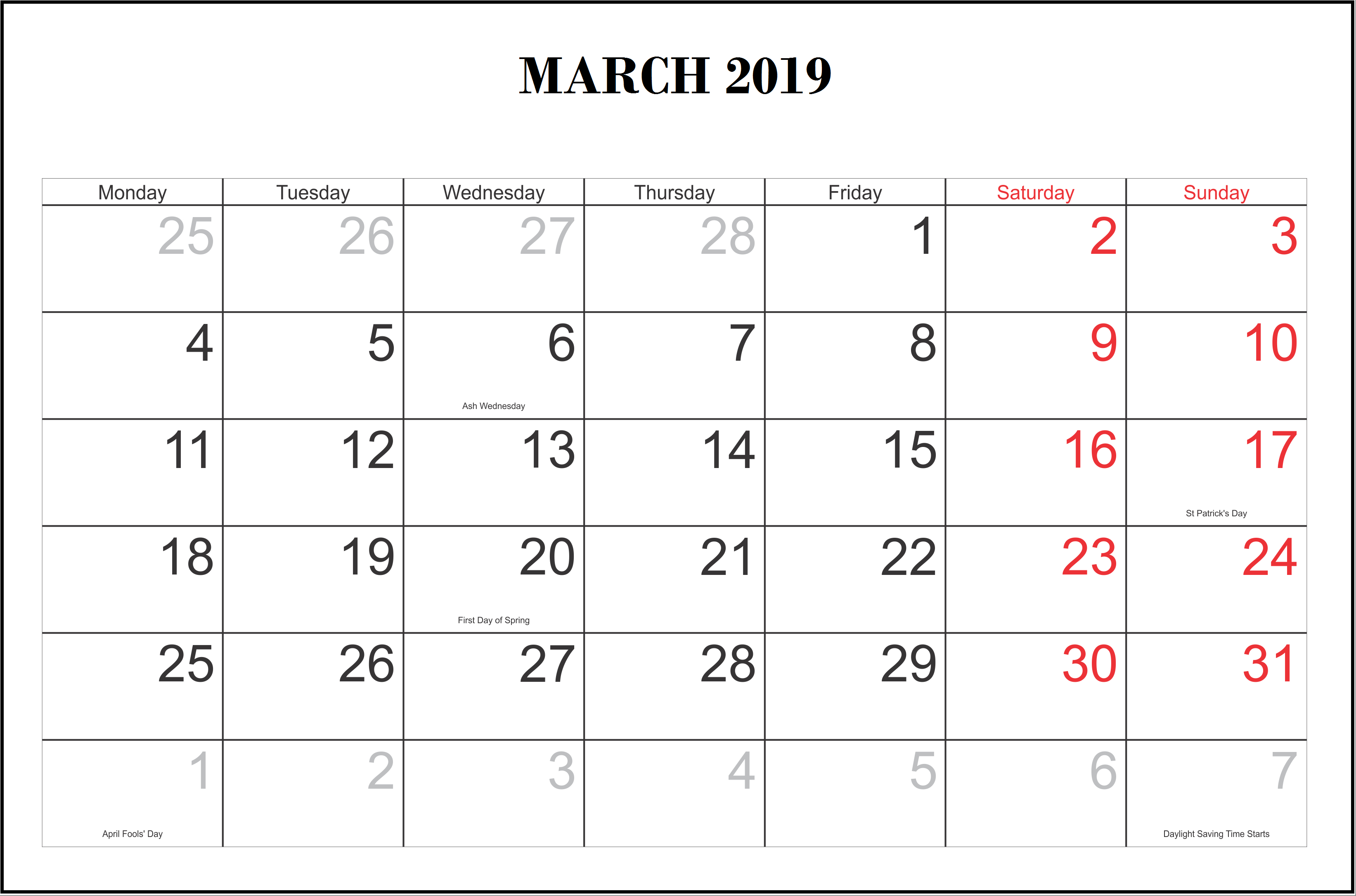 March 2019 Calendar Canada Printable | Printable Calendar 2019 intended for Pretty Calendar Template Printable March