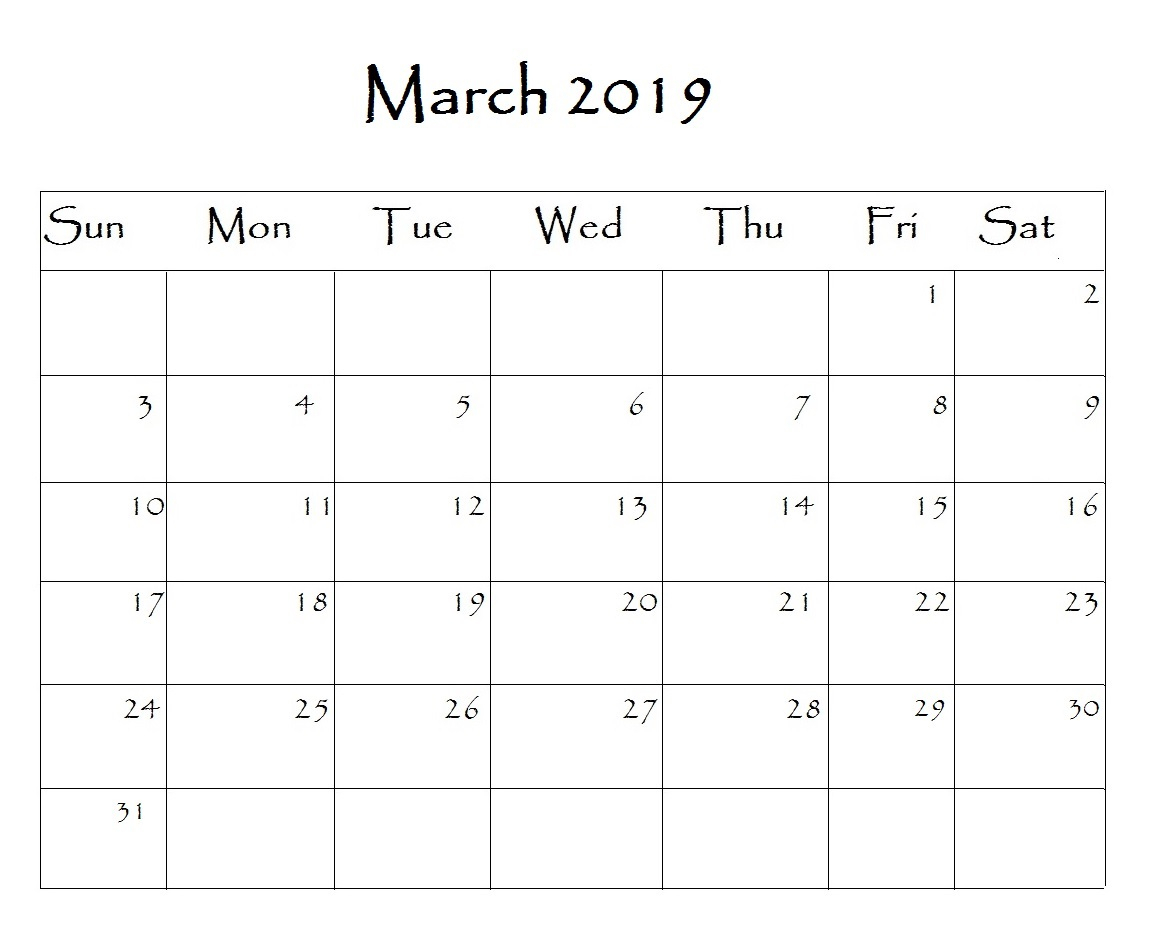 March 2019 Calendar Editable Blank Images Printable Free Download pertaining to Editable Calendars Download Template