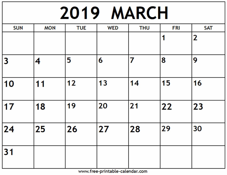 March 2019 Calendar - Free-Printable-Calendar in Blank Printable Calendar March