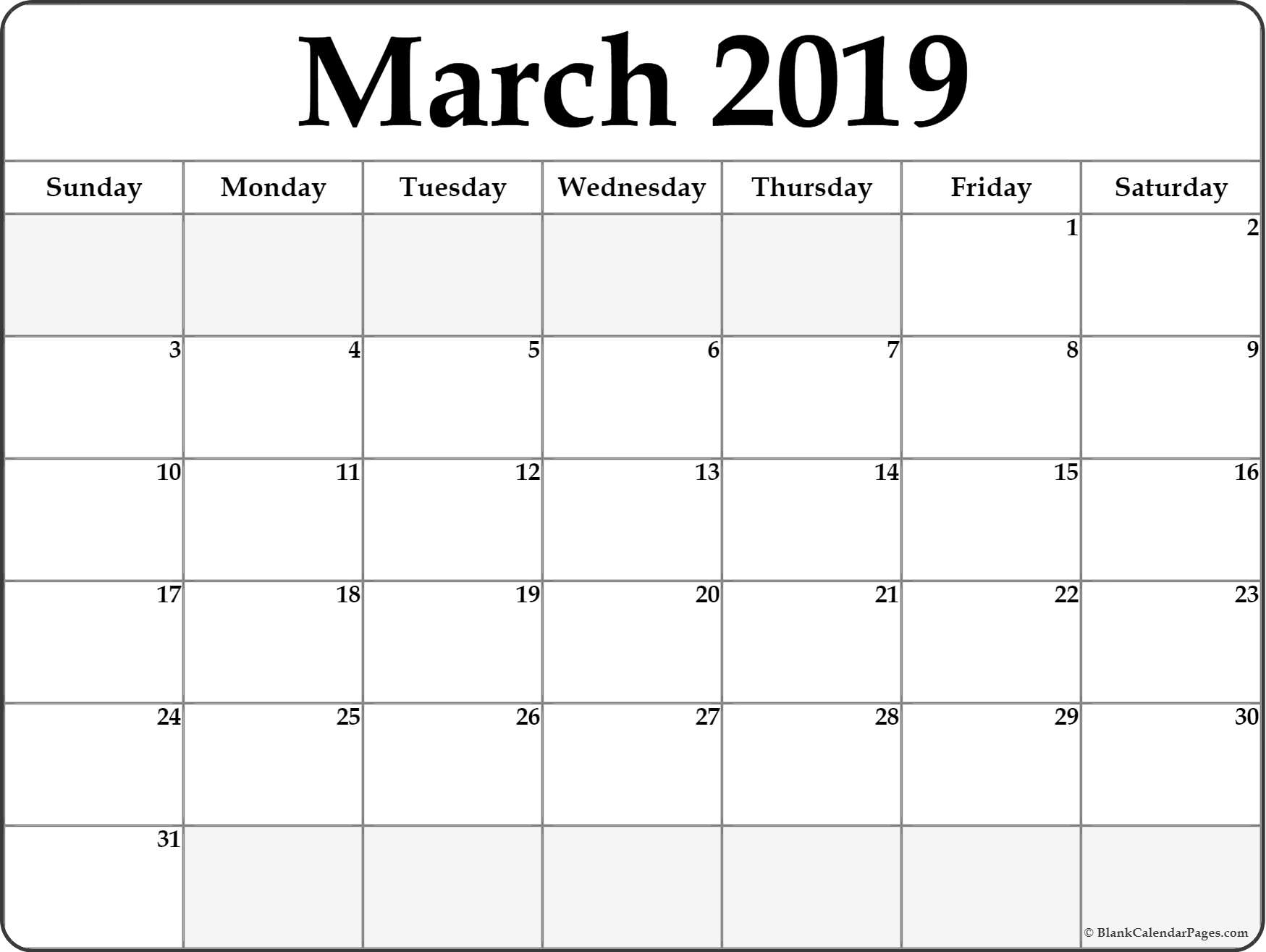 March 2019 Calendar | Free Printable Monthly Calendars within Blank Printable Calendar March
