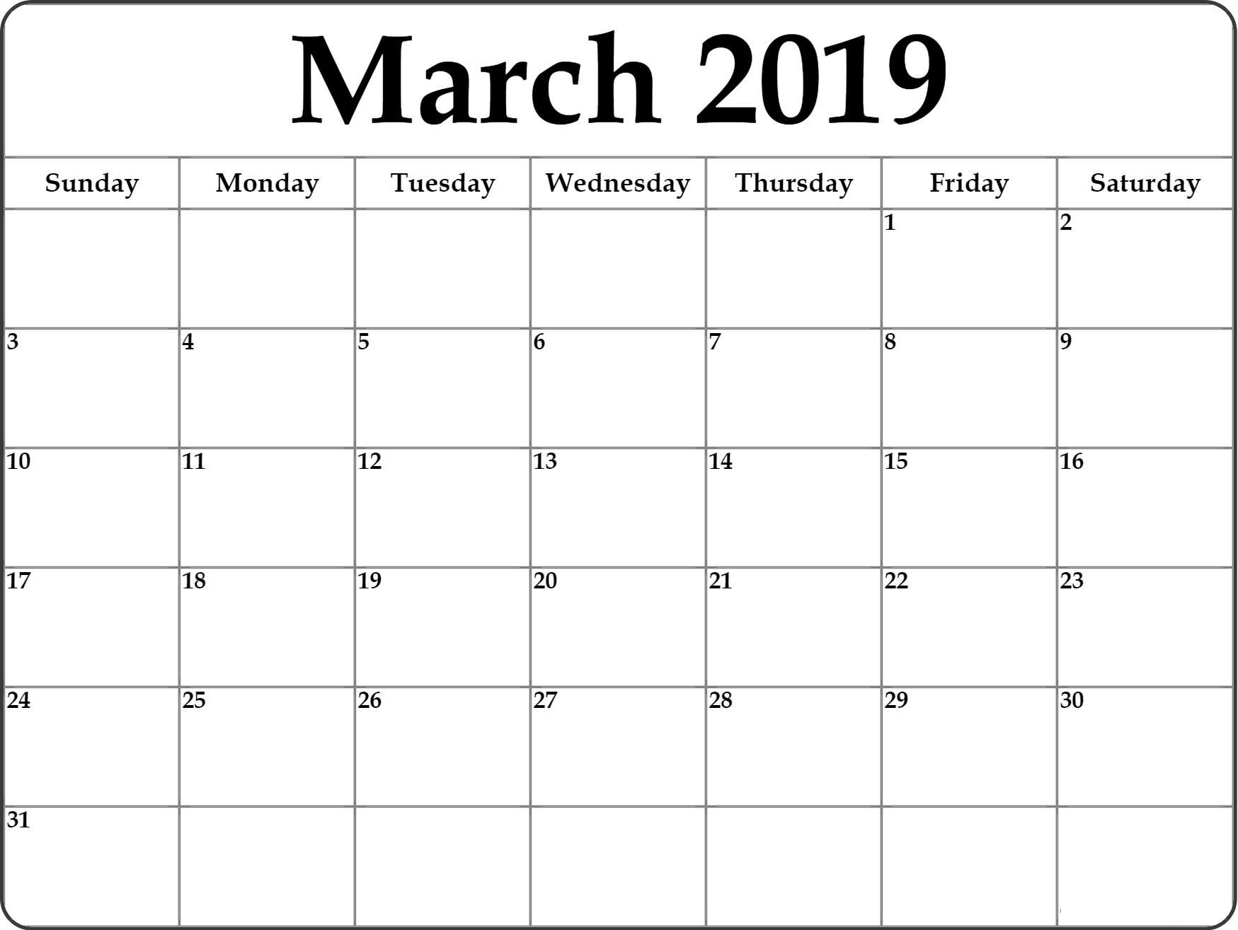 March 2019 Calendar Printable Template - Free Printable Calendar with regard to March Calendar Printable Template