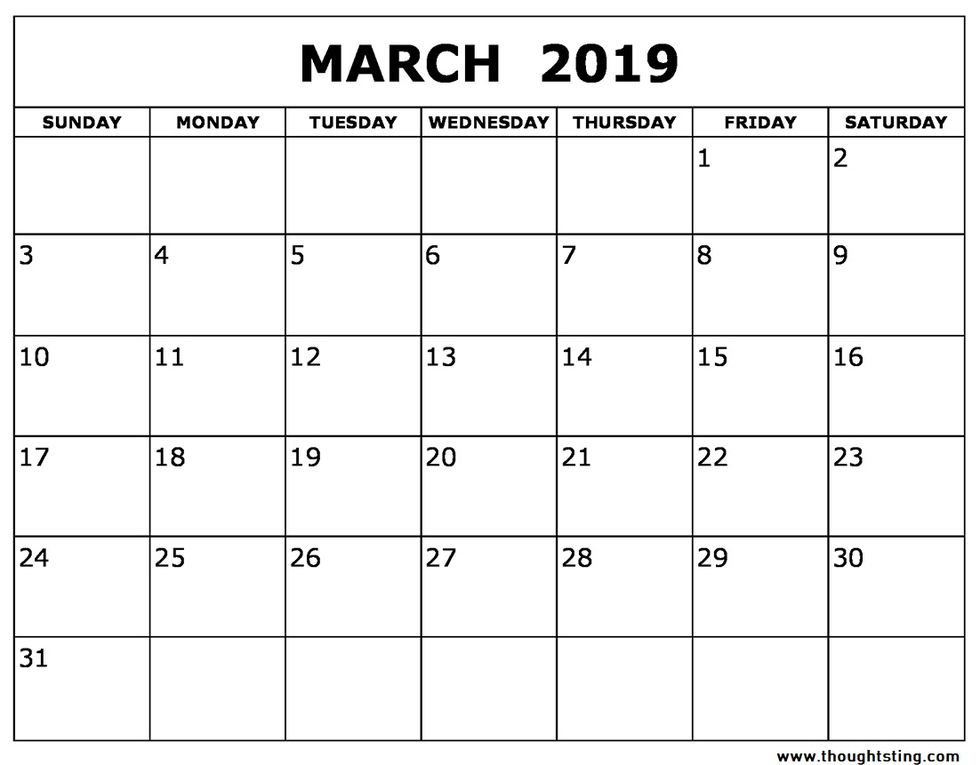 March 2019 Calendar Printable Word, Pdf, Excel - Free Printable inside Blank Printable Calendar March