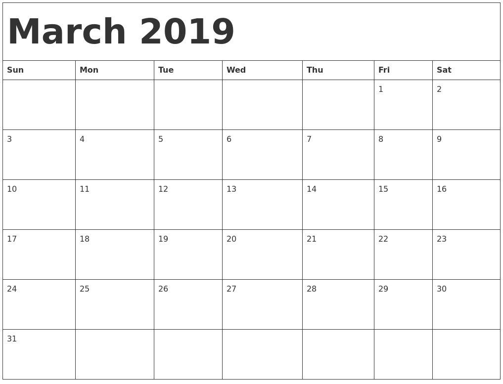 March 2019 Calendar Template Word #march #march2019 within Blank Printable Calendar March