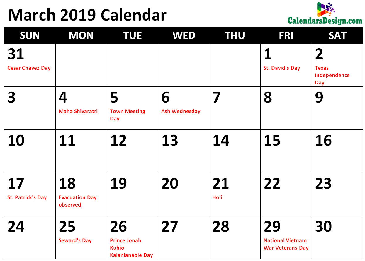 March 2019 Calendar With Holidays Printable - Free 2019 Printable inside Calendar With Holidays Templates