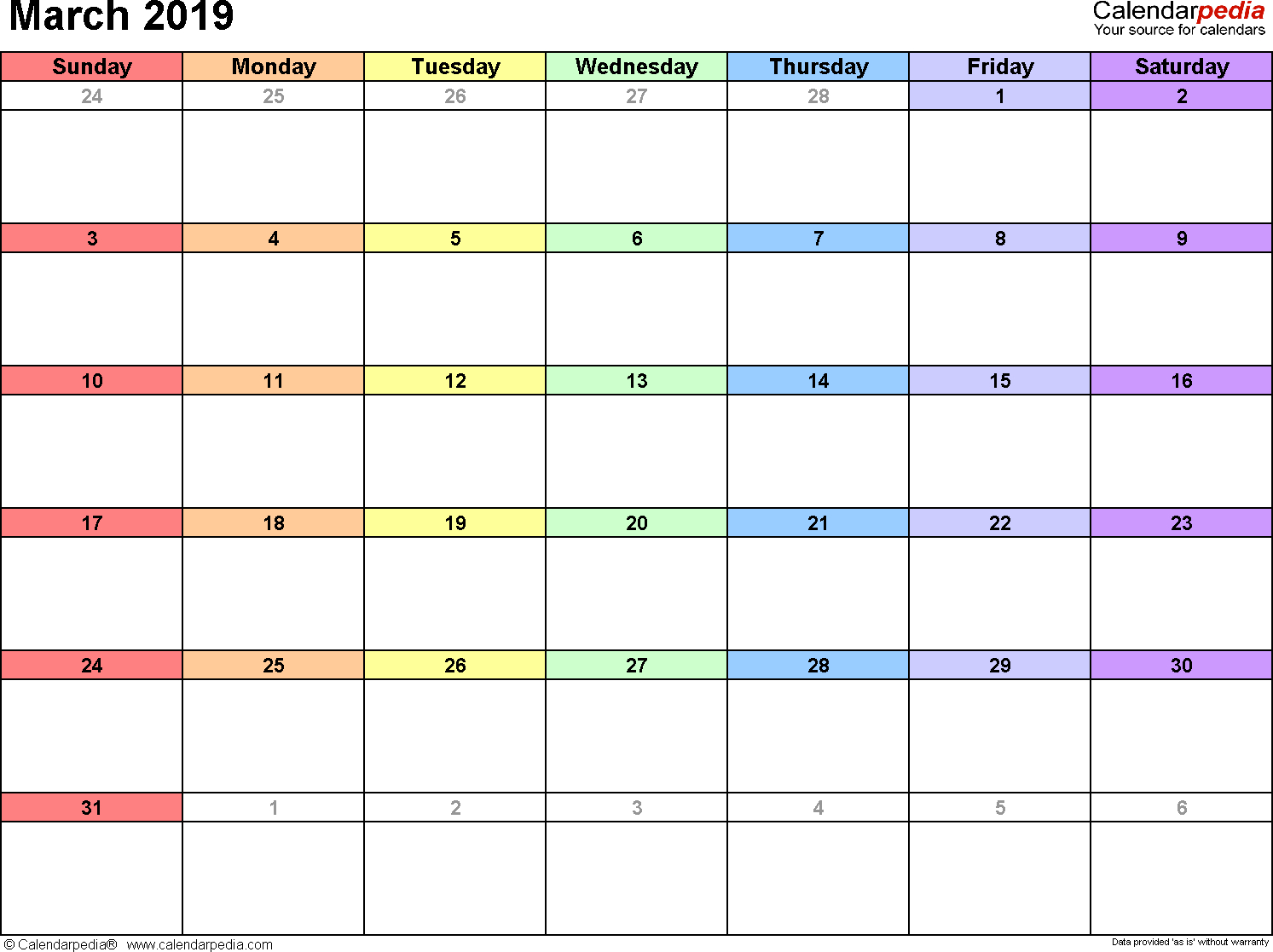 March 2019 Calendars For Word, Excel & Pdf with regard to March Calendar Printable Template