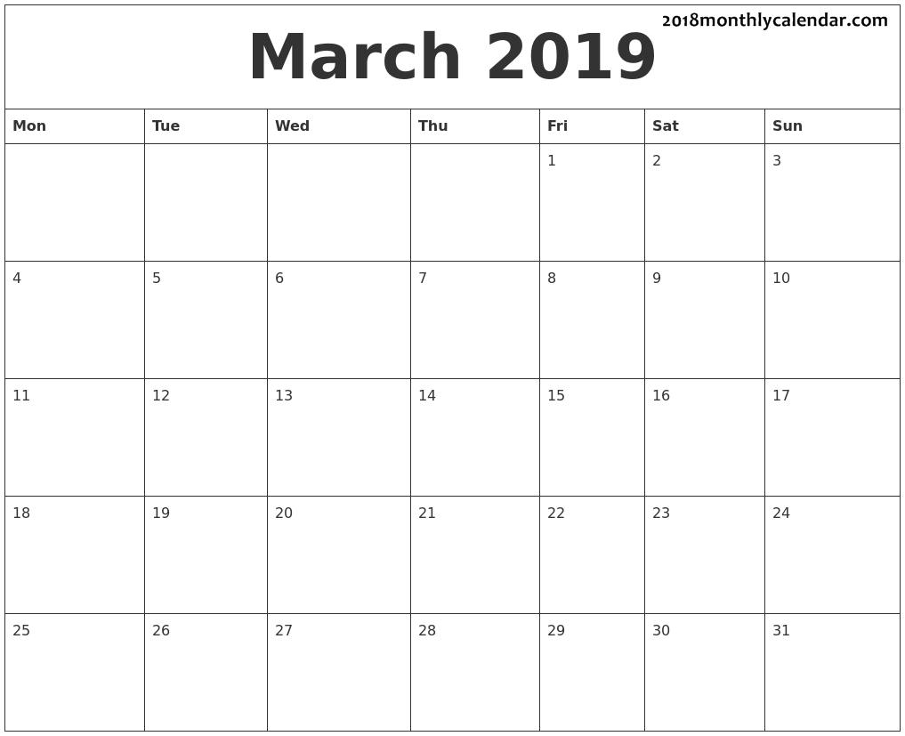 March 2019 | Dv | 2018 Calendar Pdf, August Calendar, June 2019 Calendar intended for Blank Printable Calendar Pages Aug