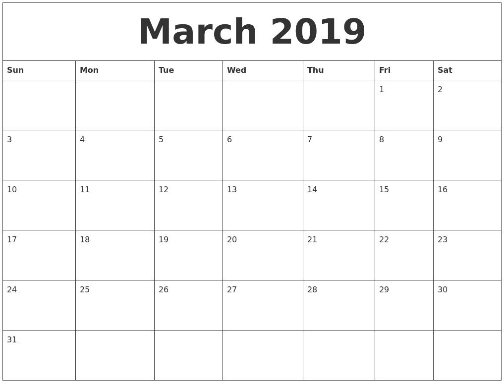 March 2019 Editable Calendar Template | 150+ April 2019 Calendar intended for March Calendar Printable Template
