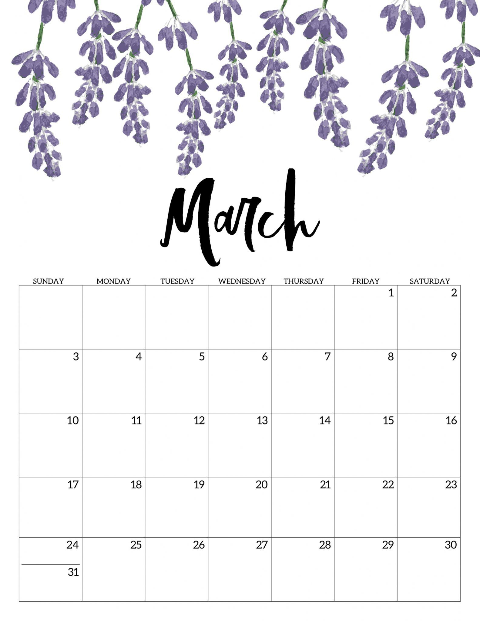 March 2019 Floral Calendar #march #march2019 #march2019Calendar in Pretty Calendar Template Printable March