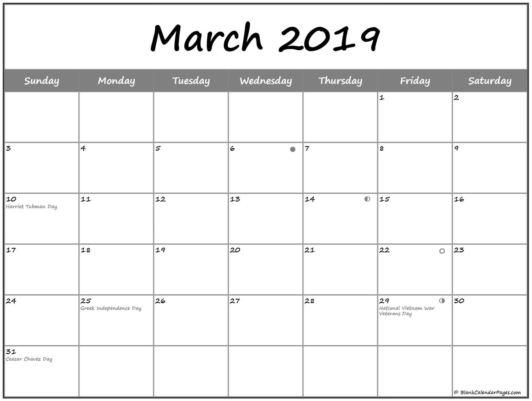 March 2019 Lunar Calendar Moon Phases | Free Monthly Calendar pertaining to Template For Lunar Calendar