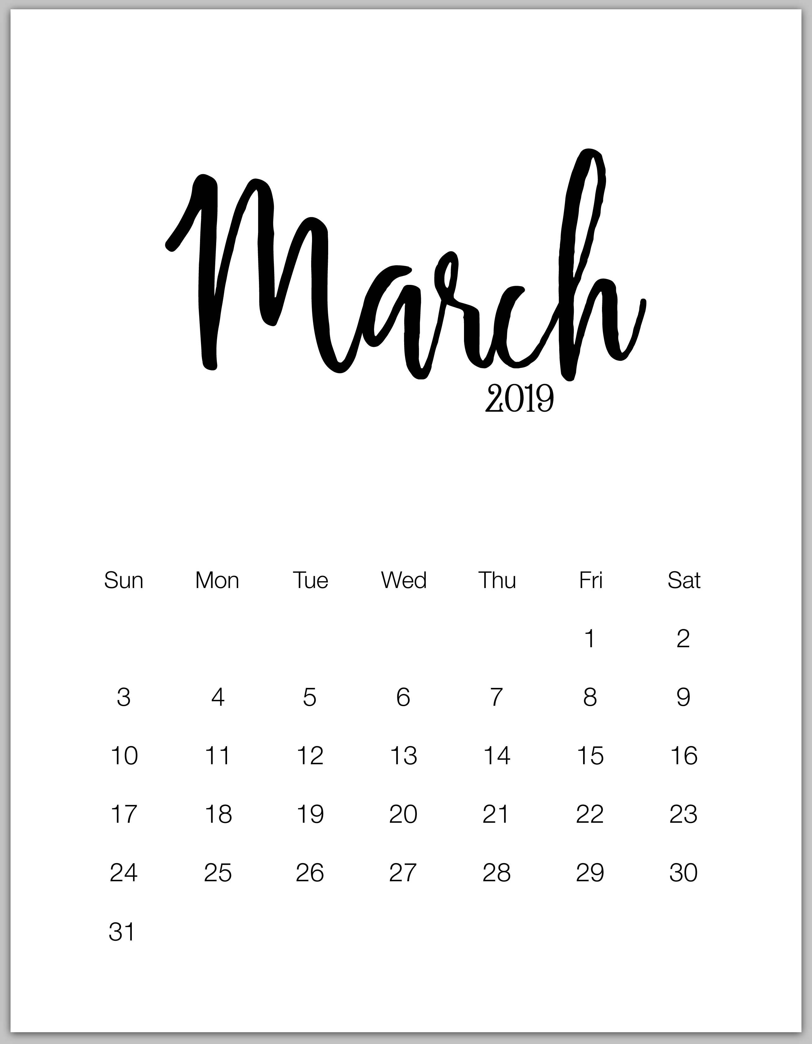 March 2019 Minimalist Calendar | 2019 Calendars | January Calendar intended for Free Printable Blank Advent Activities List Minimal