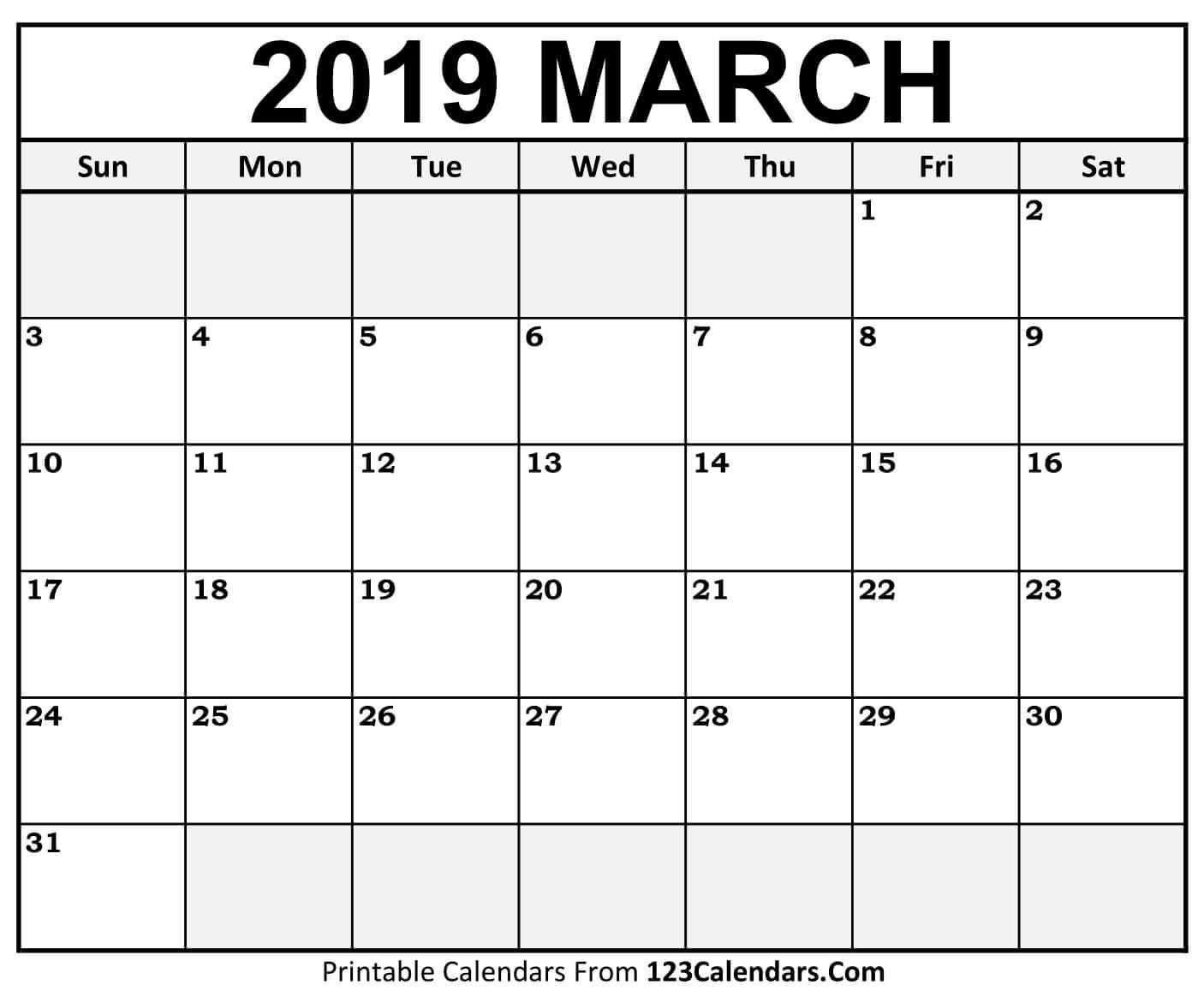 March 2019 Printable Calendar | Free March 2019 Calendar Printable intended for Free Blank Calendar Templates To Print
