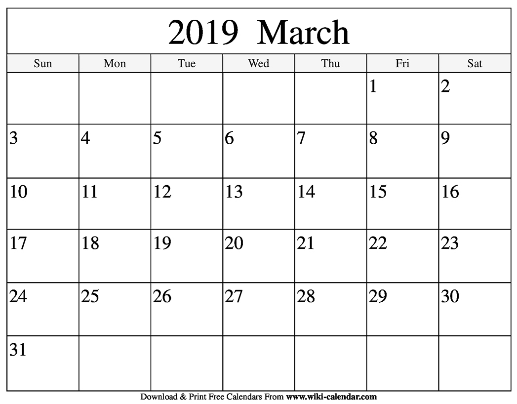March 2019 Printable Calendar Pdf Free Monthly Template throughout Blank Printable Calendar March