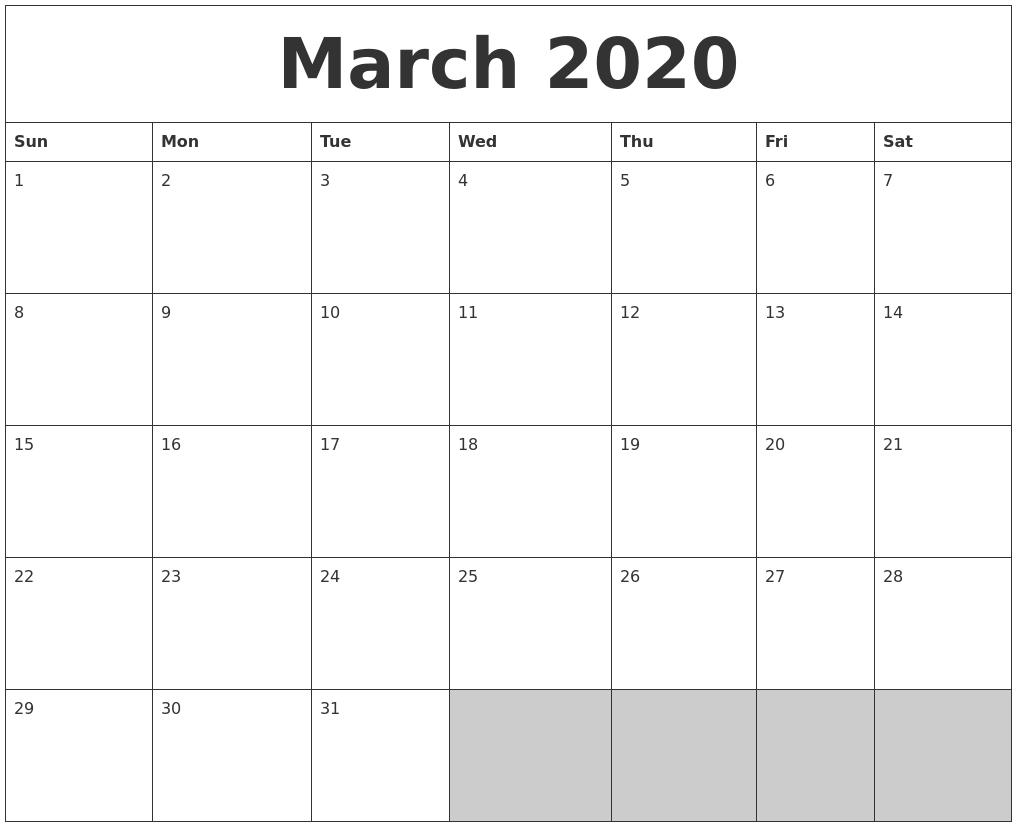 March 2020 Blank Printable Calendar in Blank Printable Calendar March
