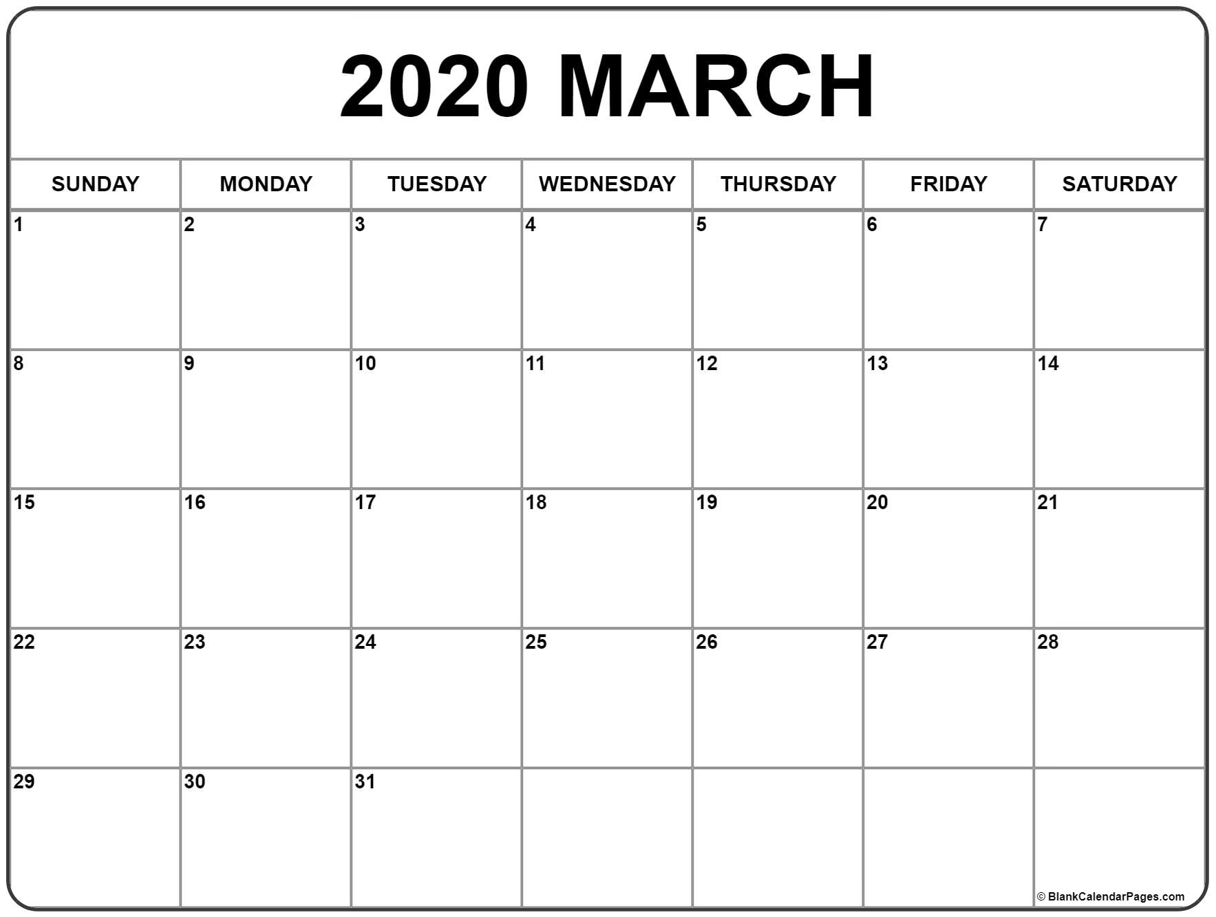 March 2020 Calendar | Free Printable Monthly Calendars for 2020 Calander To Write On