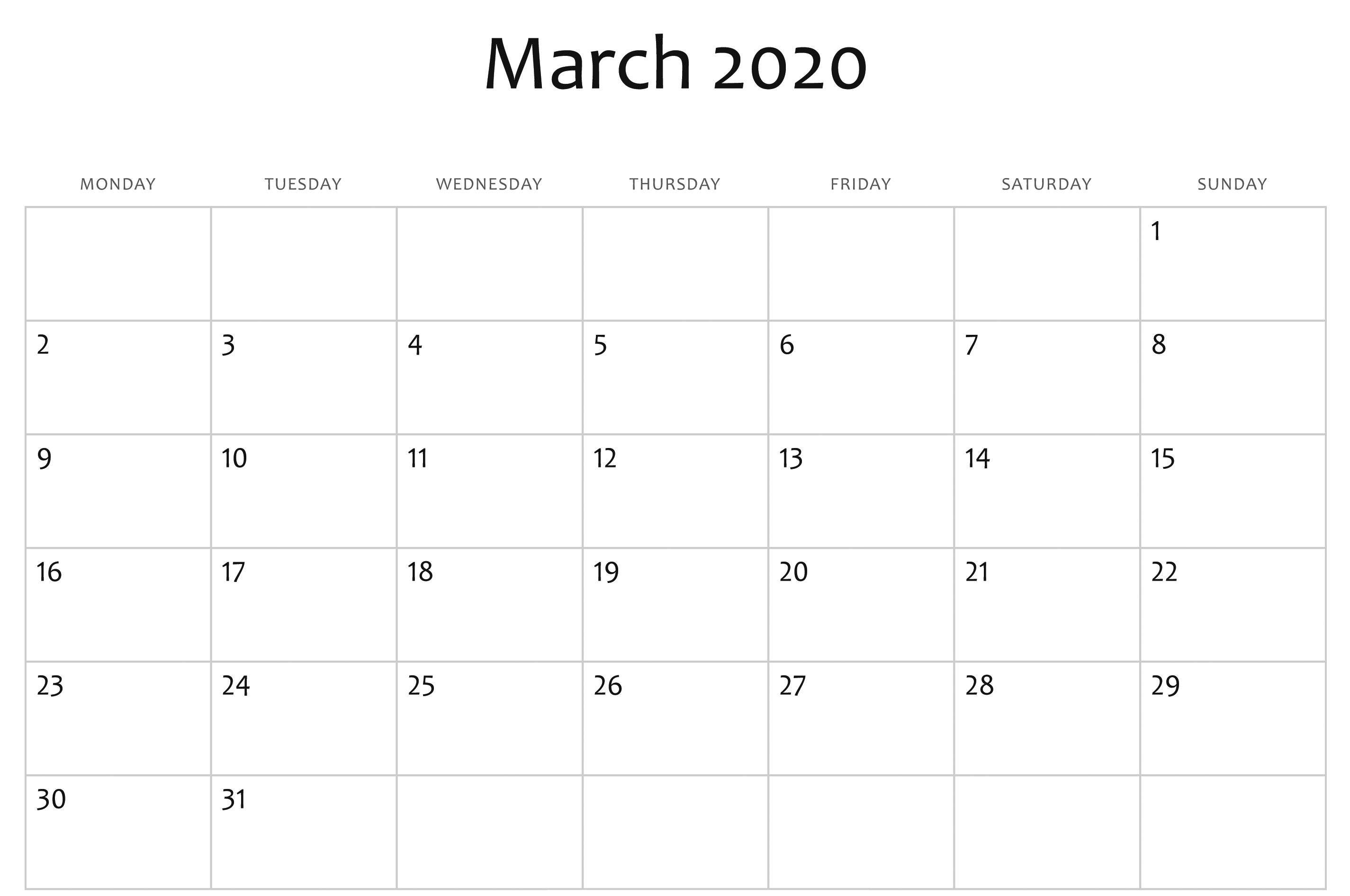 March 2020 Calendar Pdf, Word, Excel Template with regard to 2020 Calendar Sunday Through Saturday