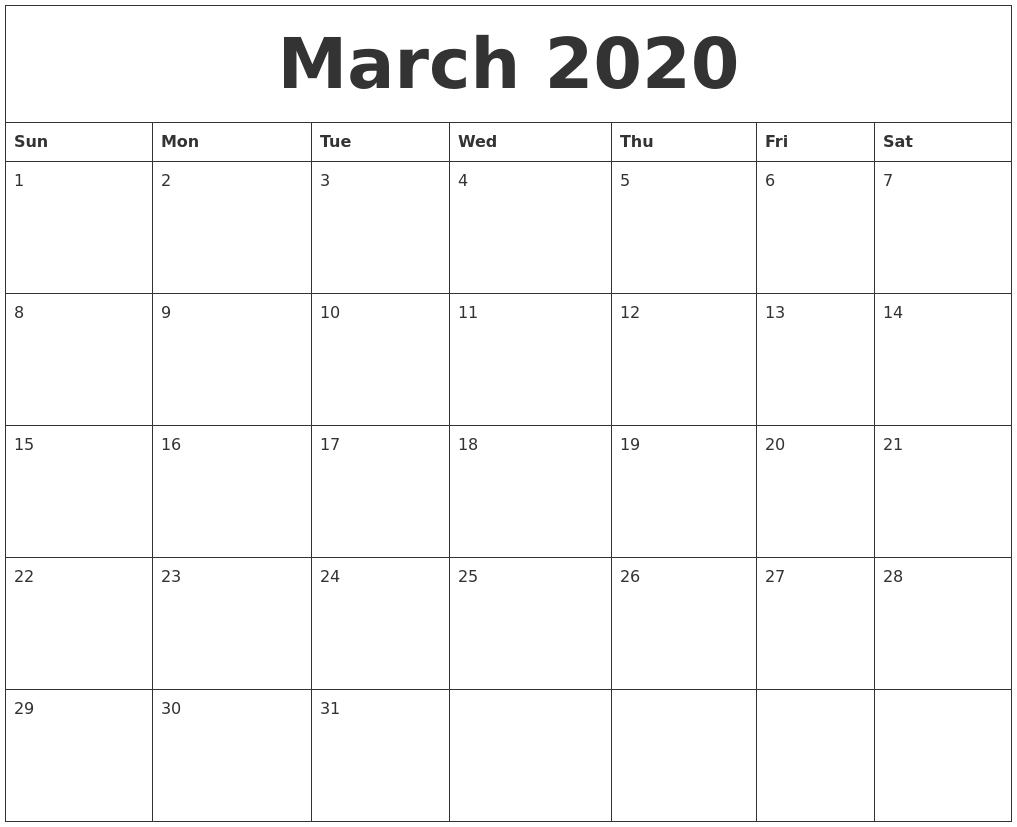 March 2020 Large Printable Calendar with regard to 2020 Free Printable Calendar Large Numbers