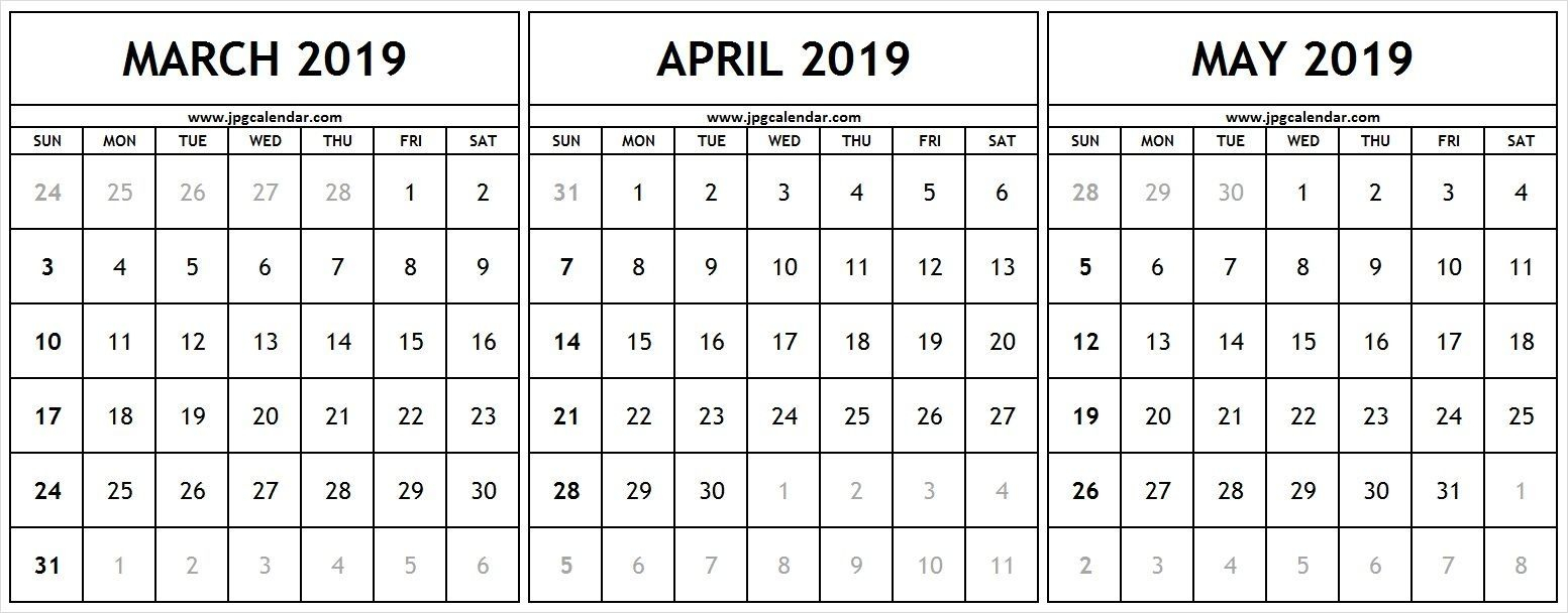 March April May 2019 Calendar #march #april #may #2019Calendar throughout Printable 3 Month One Page April May June Calendar Template