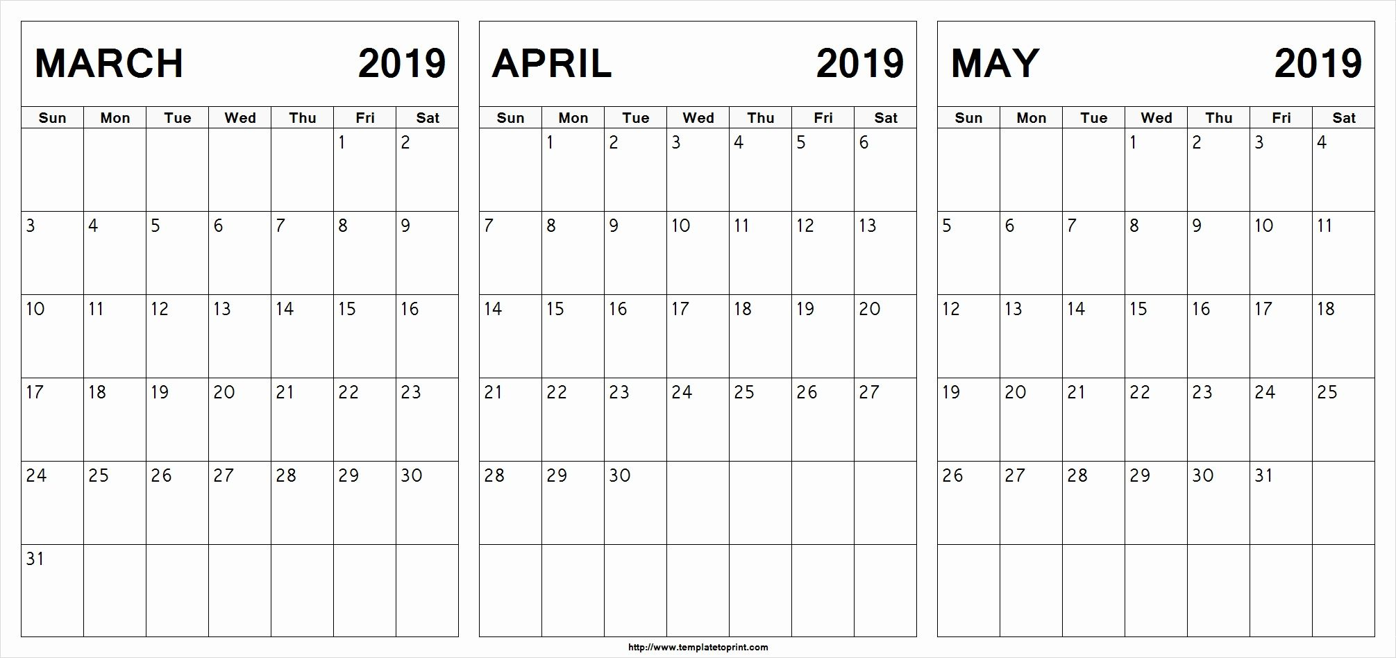 March April May 2019 Calendar Printable #march #april #may in 3 Month Calendar Template Printable