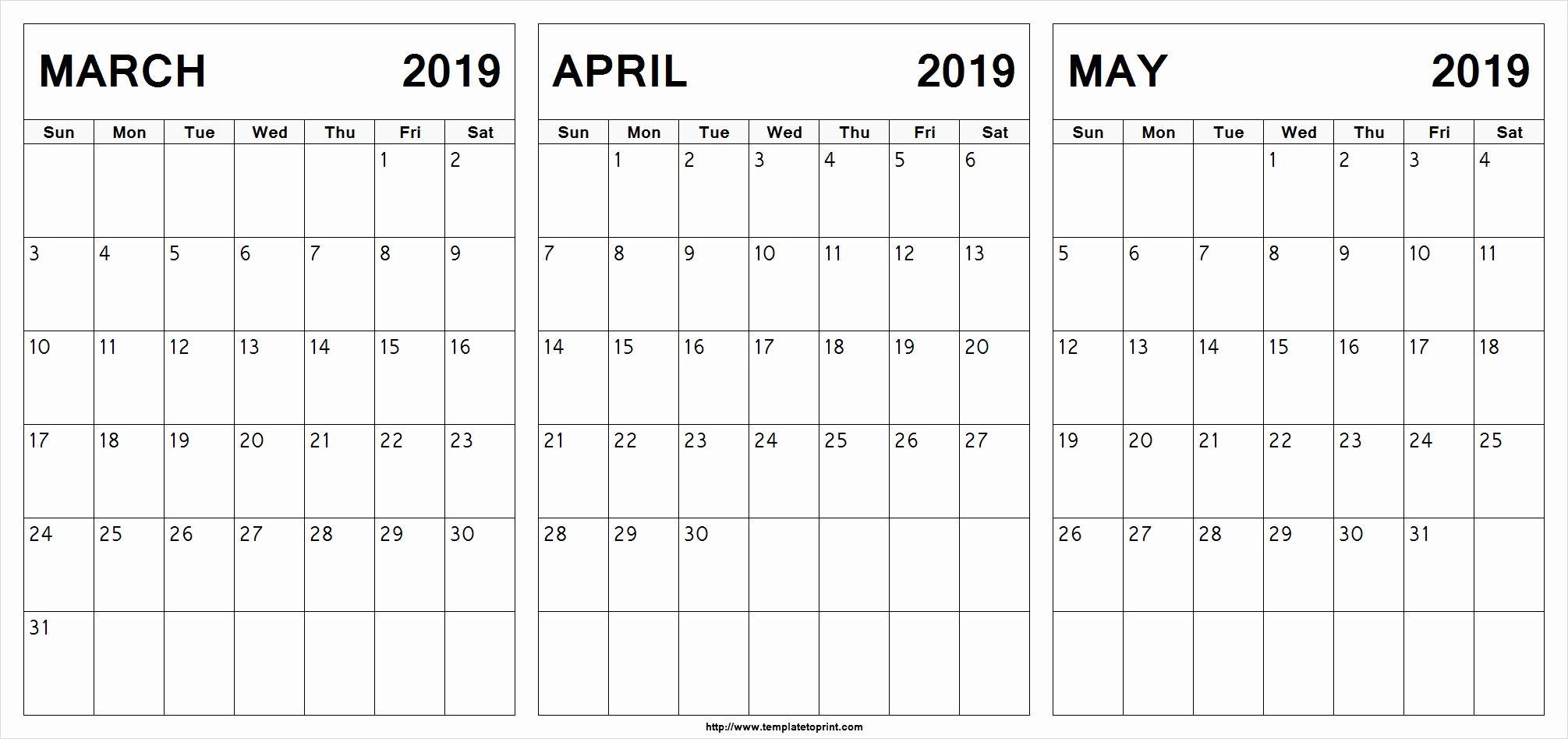 March April May 2019 Calendar Printable #march #april #may regarding Printable Blank 3 Month Calendar