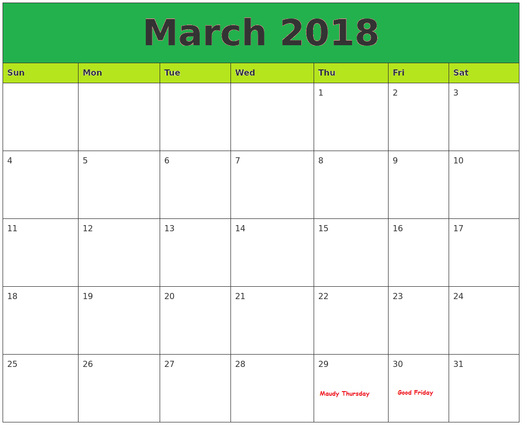 March Calendar 2018 Philippines - Free Printable Template with regard to Printable Template For Philippine Calendar