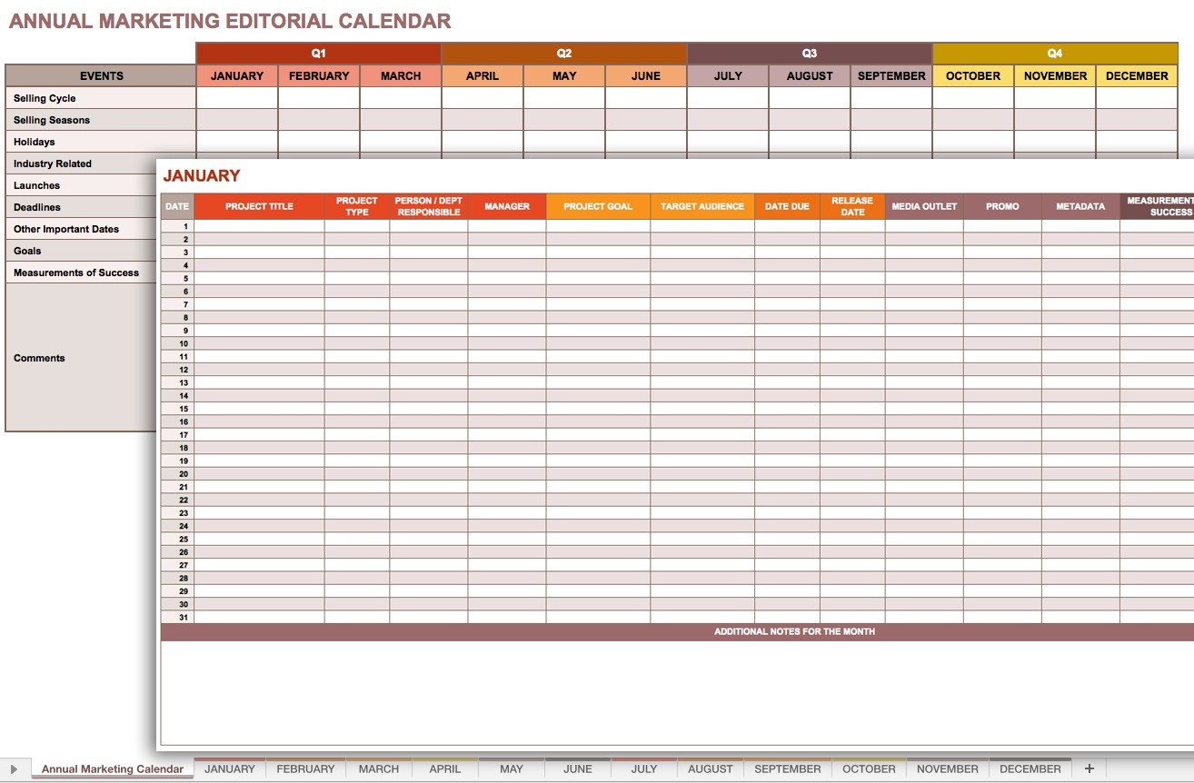 Marketing Editorial Calendar In Monthly Planning Calendar Template for Yearly Planning Calendar Template For -2019