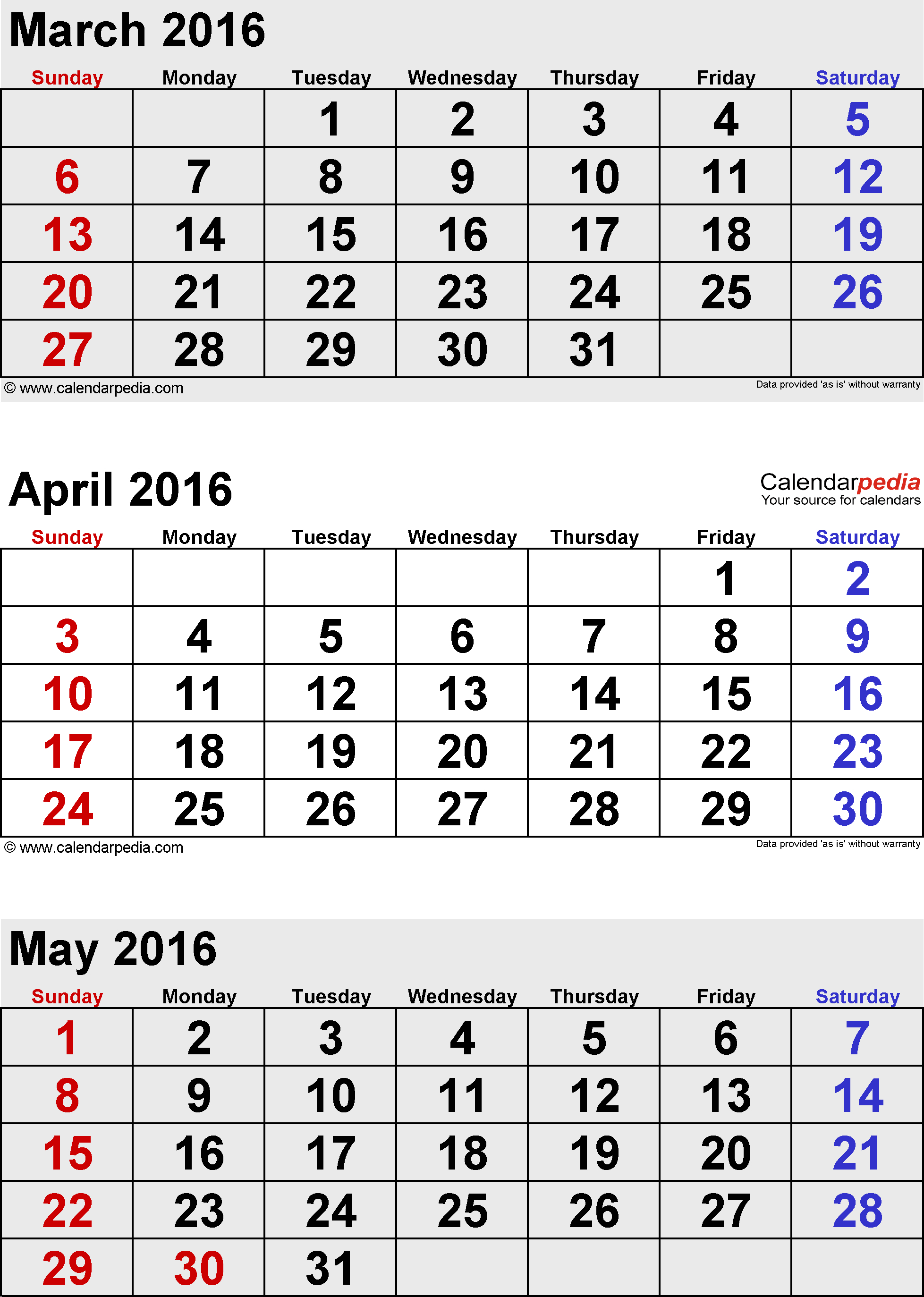 May 2016 Calendars For Word, Excel & Pdf with regard to Printable 3 Month April May June Calendar Template