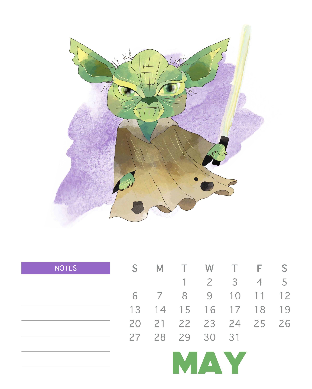 May 2018 Star War Calendar Design | Calendar 2018 | Calendar Design with regard to Star Wars Templates Printables Calendar