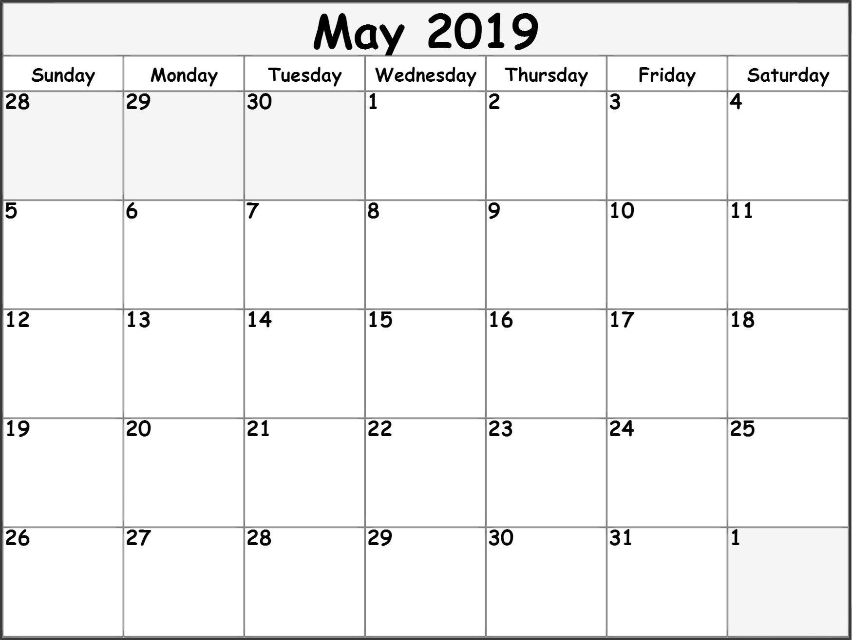 May 2019 Blank Calendar Download Blank May 2019 Blank Template intended for May Calendar Printable Template