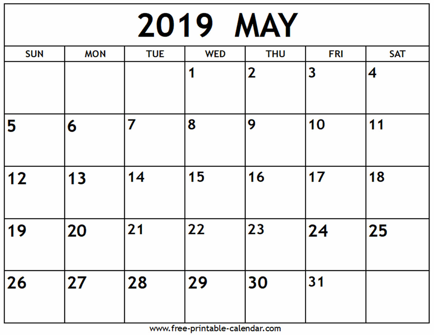 May 2019 Calendar - Free-Printable-Calendar pertaining to Need A Blank Calendar With Lines