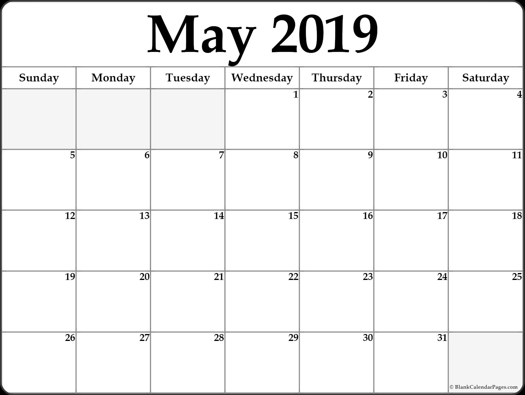 May 2019 Calendar Printable Template Site Provides Calendarmay 2019 with regard to Blank Printable Mini Calendar