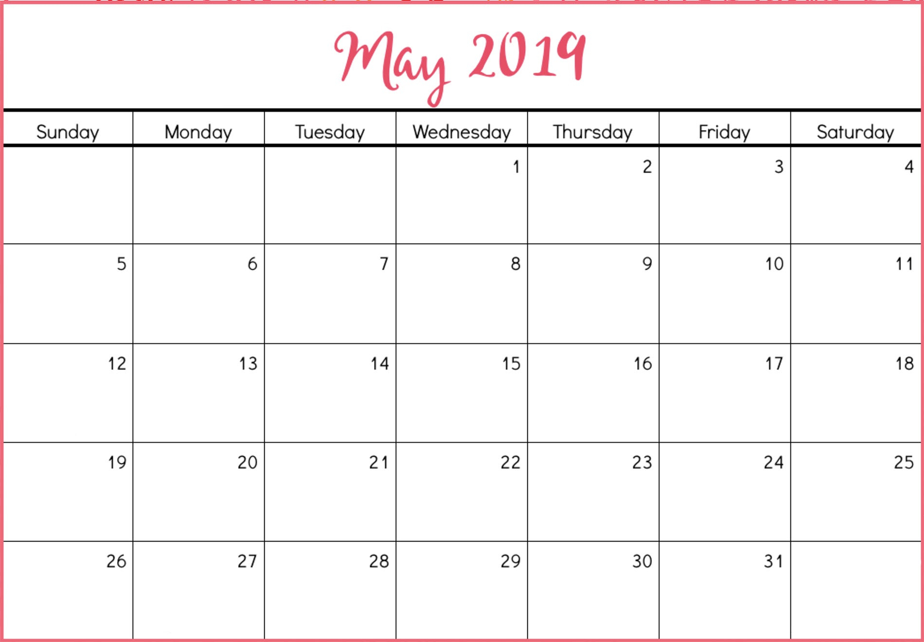 May 2019 Calendar Template Printable Blank With Editable Notes inside Cute Printable Blank Calendar Template