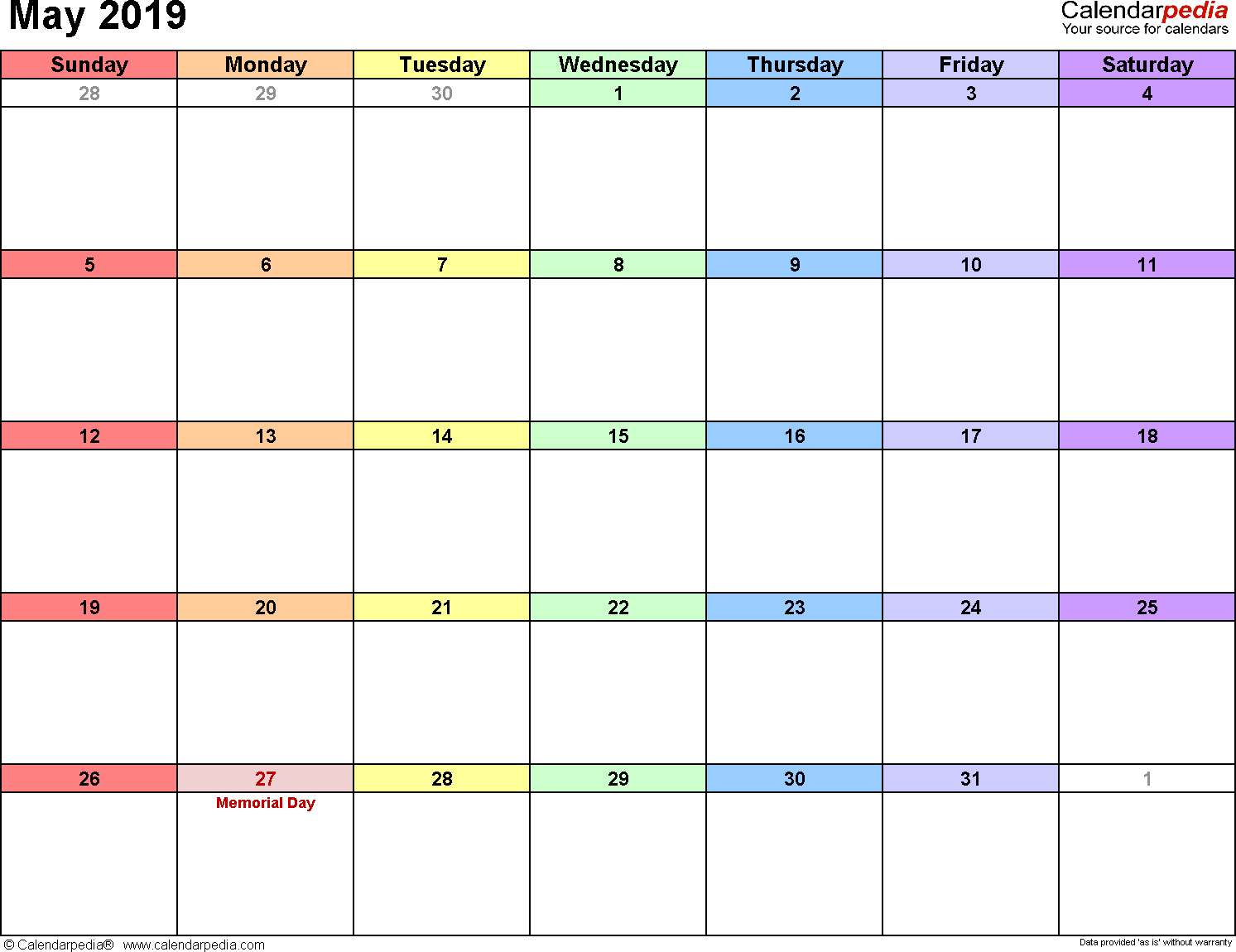 May 2019 Calendars For Word, Excel & Pdf inside May Calendar Printable Template