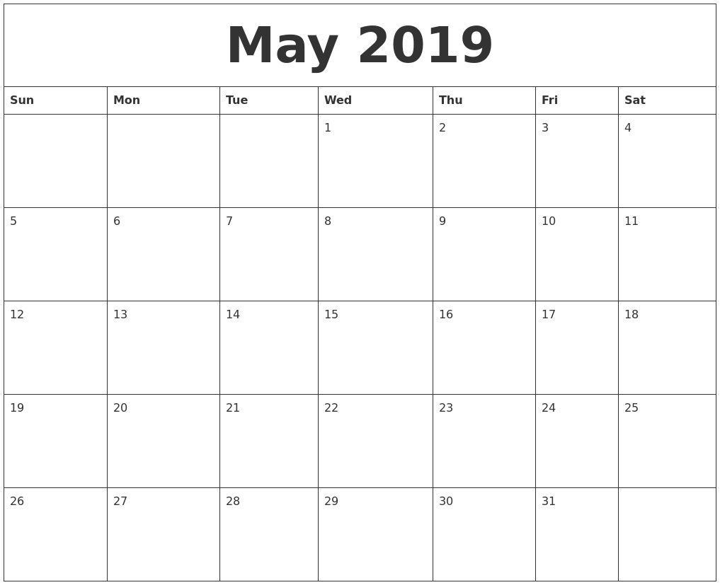 May 2019 Month Calendar Template intended for Template For Calendar By Month