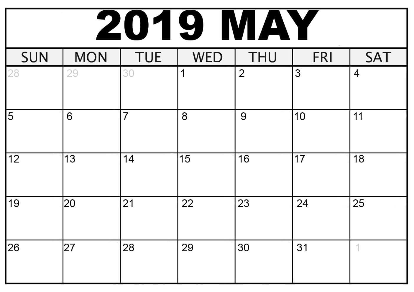 May 2019 Printable Calendar Decorative   May 2019 Blank Calendar Pdf within Decorative Printable Calendar Templates