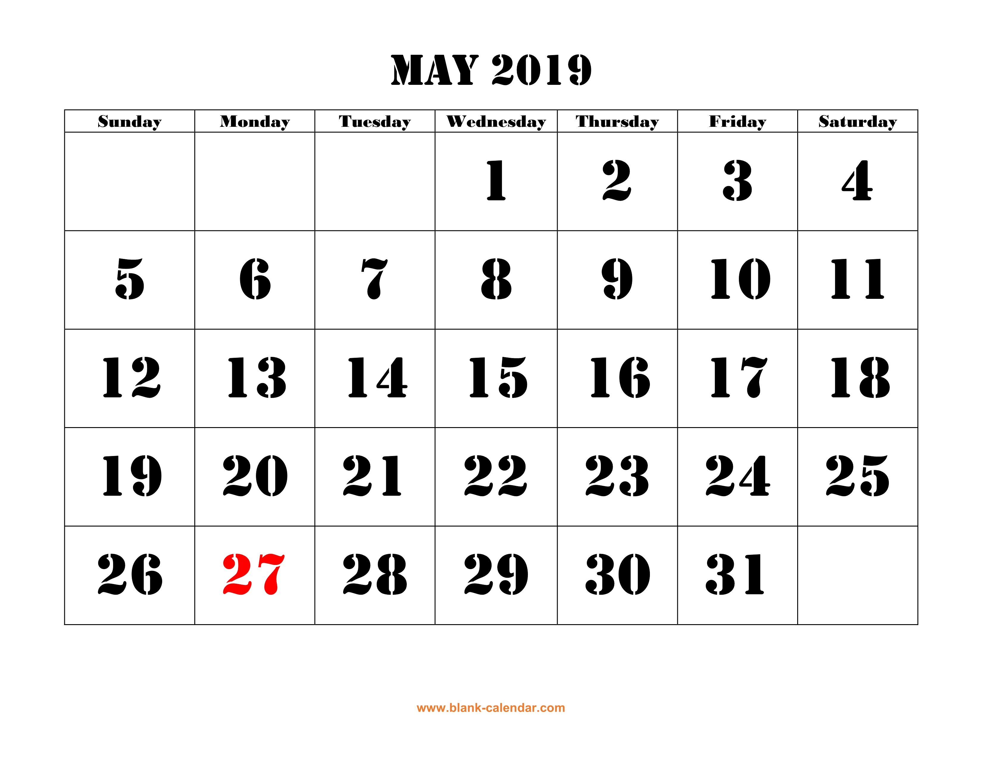 May 2019 Printable Calendar | Free Download Monthly Calendar Templates within Blank Calendar With Open Squares