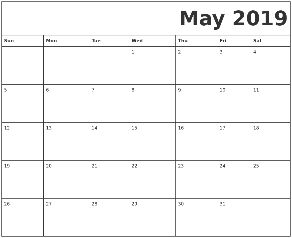 May 2019 Printable Calendar Templates - Free Blank, Pdf, Holidays regarding Blank Printable Mini Calendar