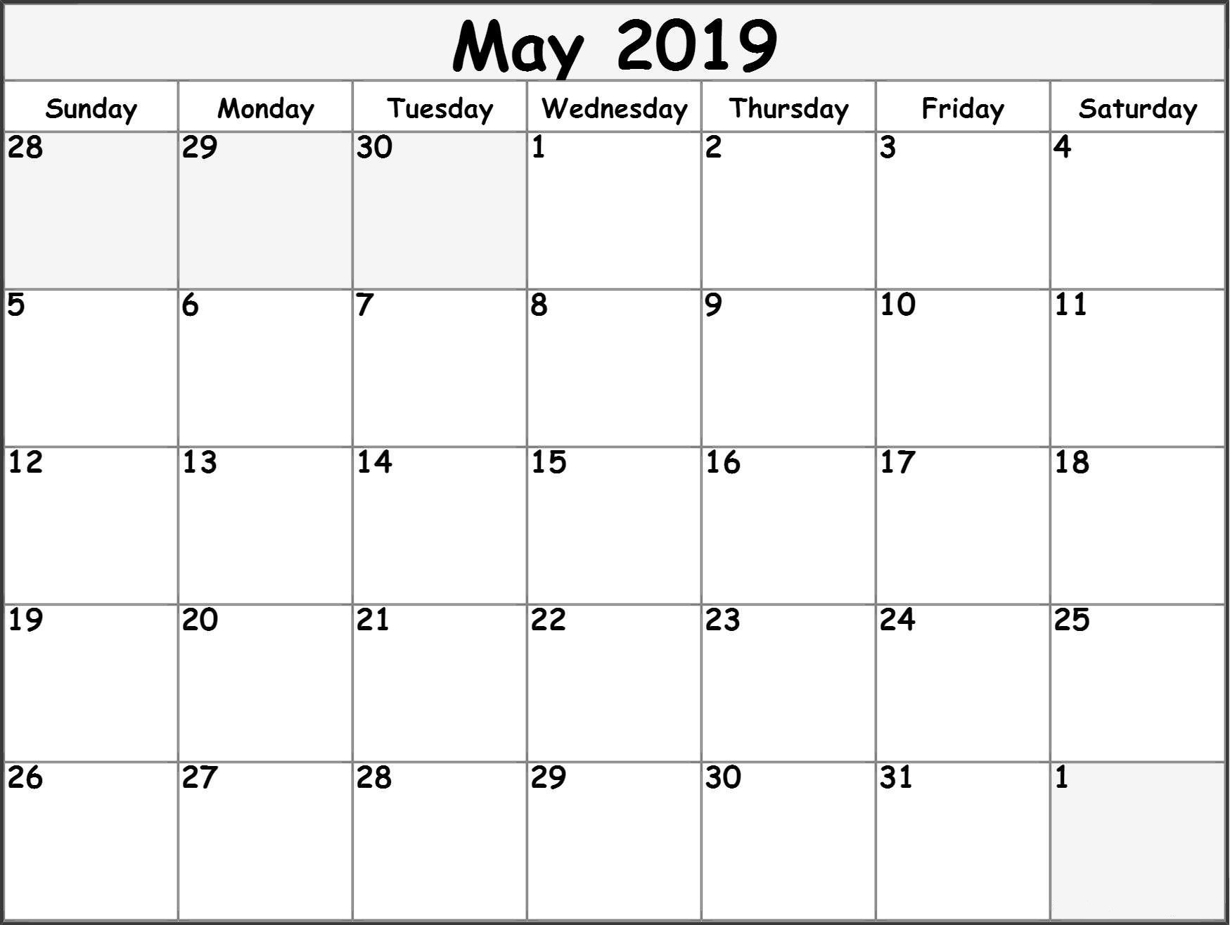 May 2019 Printable Calendar Templates - Free Blank, Pdf, Holidays throughout Free Blank Printable Calendar Template