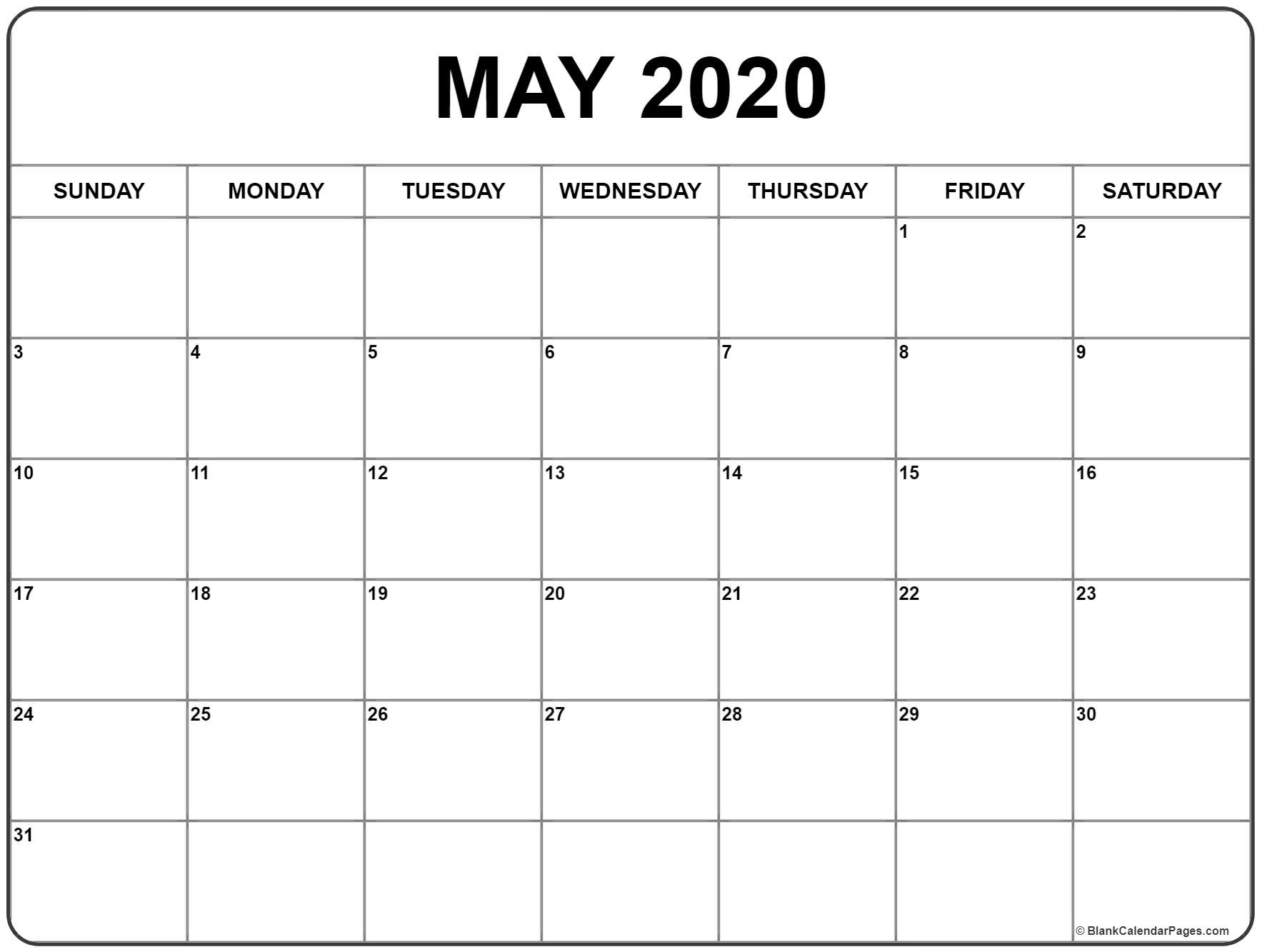 May 2020 Calendar 56 Templates Of 2020 Printable Calendars | Isacl with regard to 2020 Monday - Friday Calendar Printable