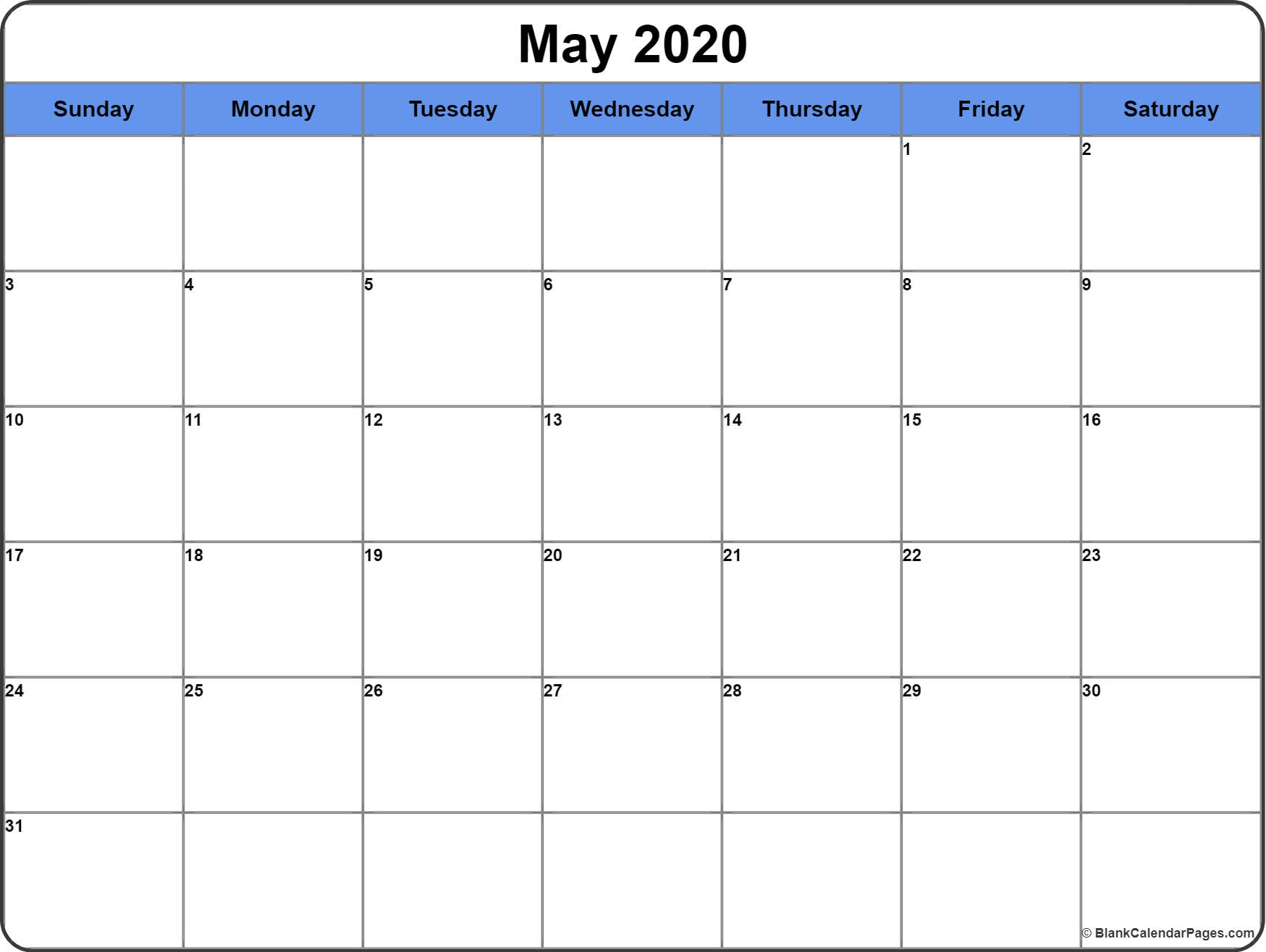 May 2020 Calendar | Free Printable Monthly Calendars with Printable 2020 Calendars No Download