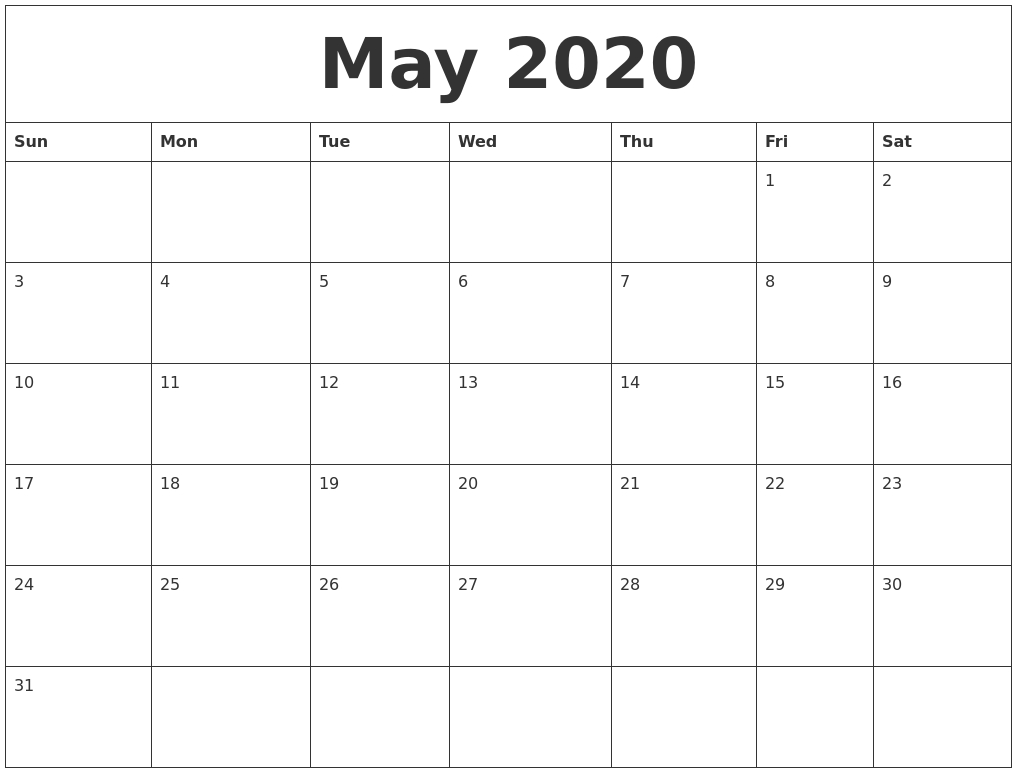 May 2020 Free Printable Weekly Calendar for Free Printable Weekly Calendar 2020