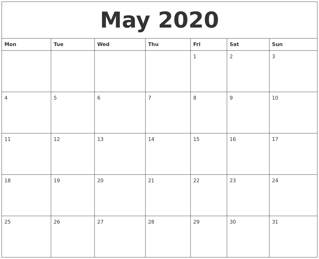 May 2020 Printable Calander for 2020Printable Monday Through Sunday Calendars