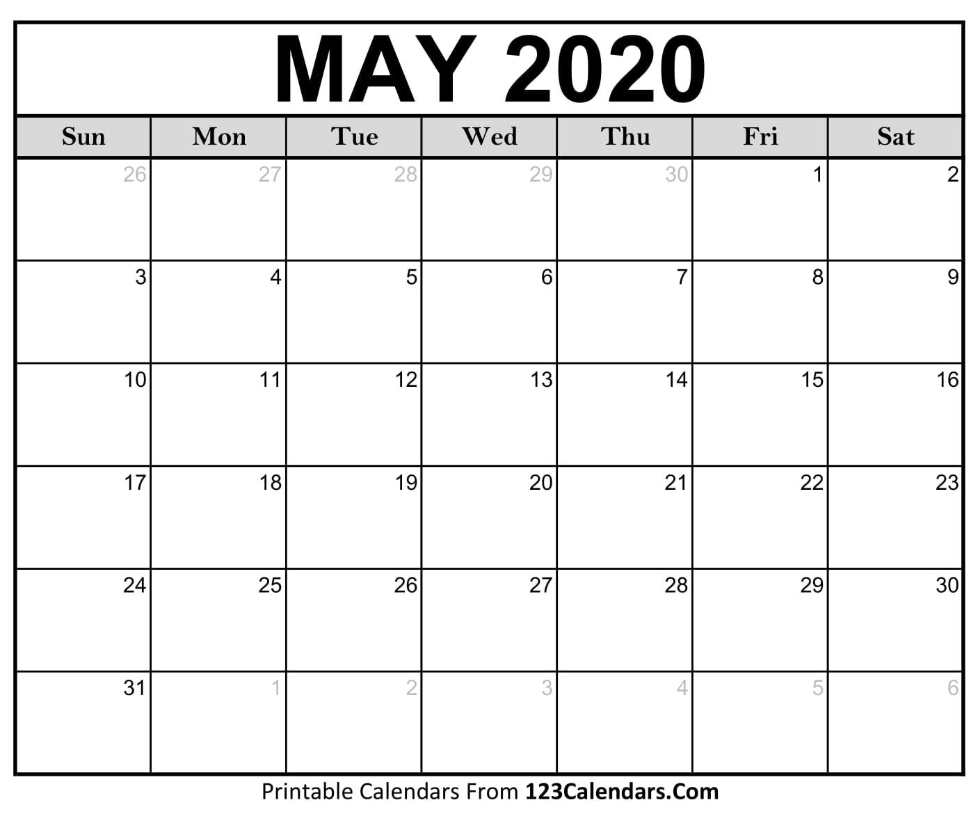 May 2020 Printable Calendar | 123Calendars in Blank 2020 Calendars To Edit