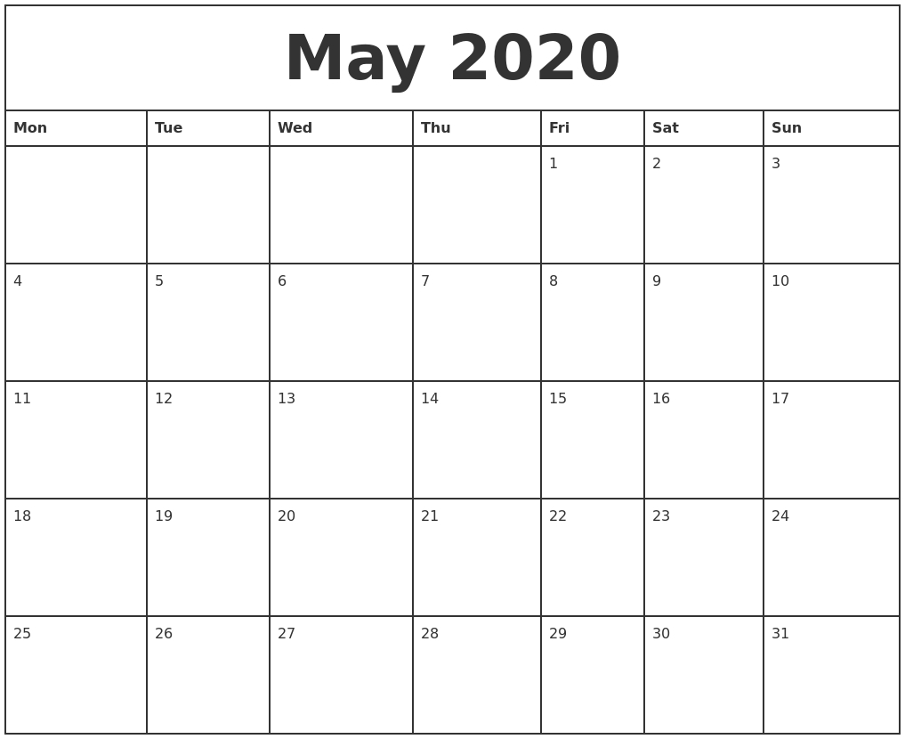 May 2020 Printable Monthly Calendar with regard to Printable 2020 Monthly Calendars Starting With Monday