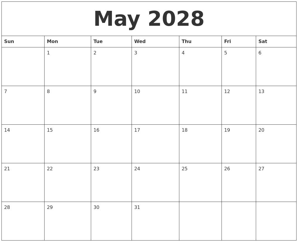 May 2028 Calendar in Fancy August Printable Calendar Template