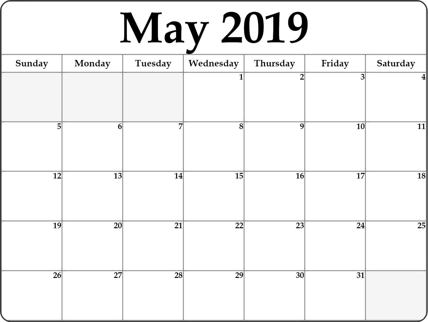 May Calendar 2019 Printable Free Template - Free Printable Calendar for Calendar Printable Free Template
