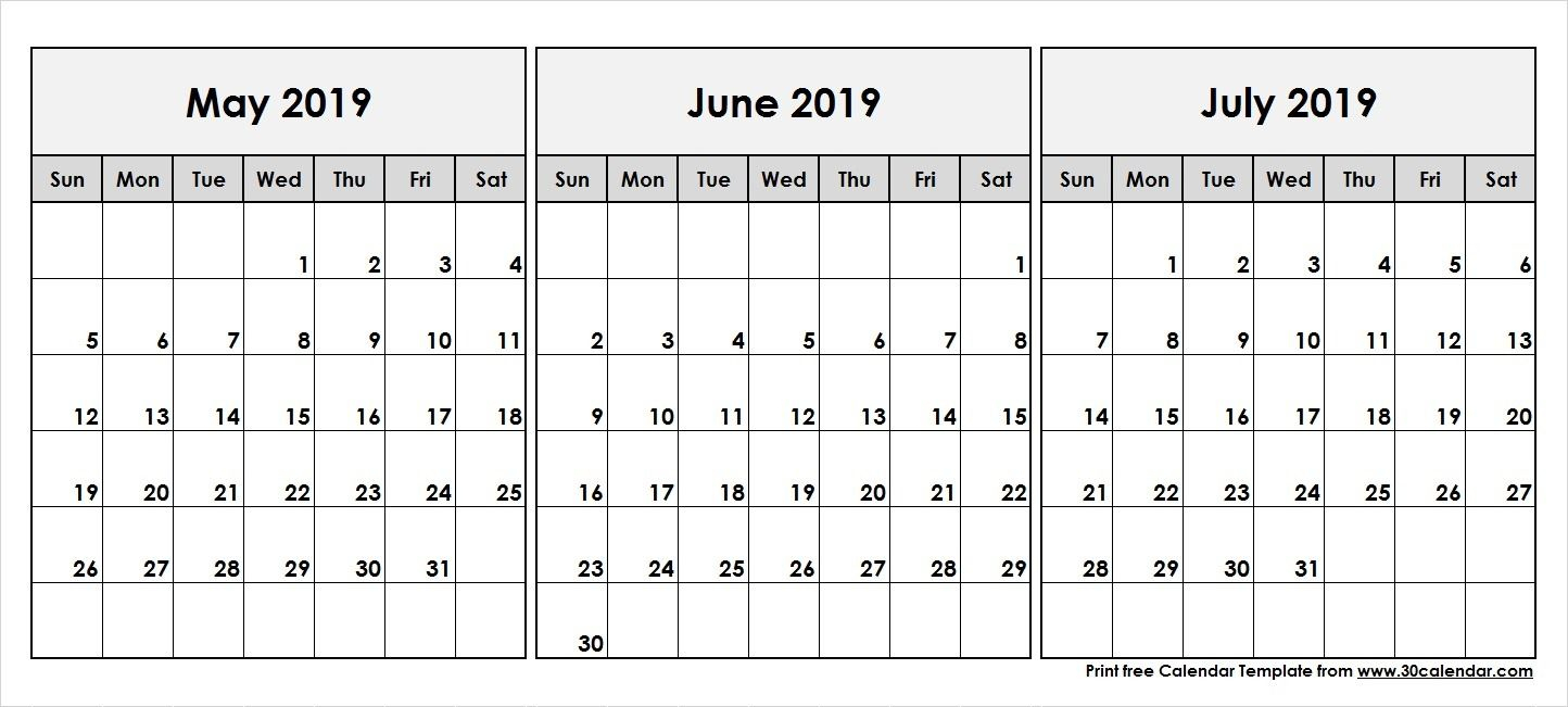 May June July 2019 Calendar | 2019 Calendar In 2019 | Calendar May with Printable 3 Month April May June Calendar Template