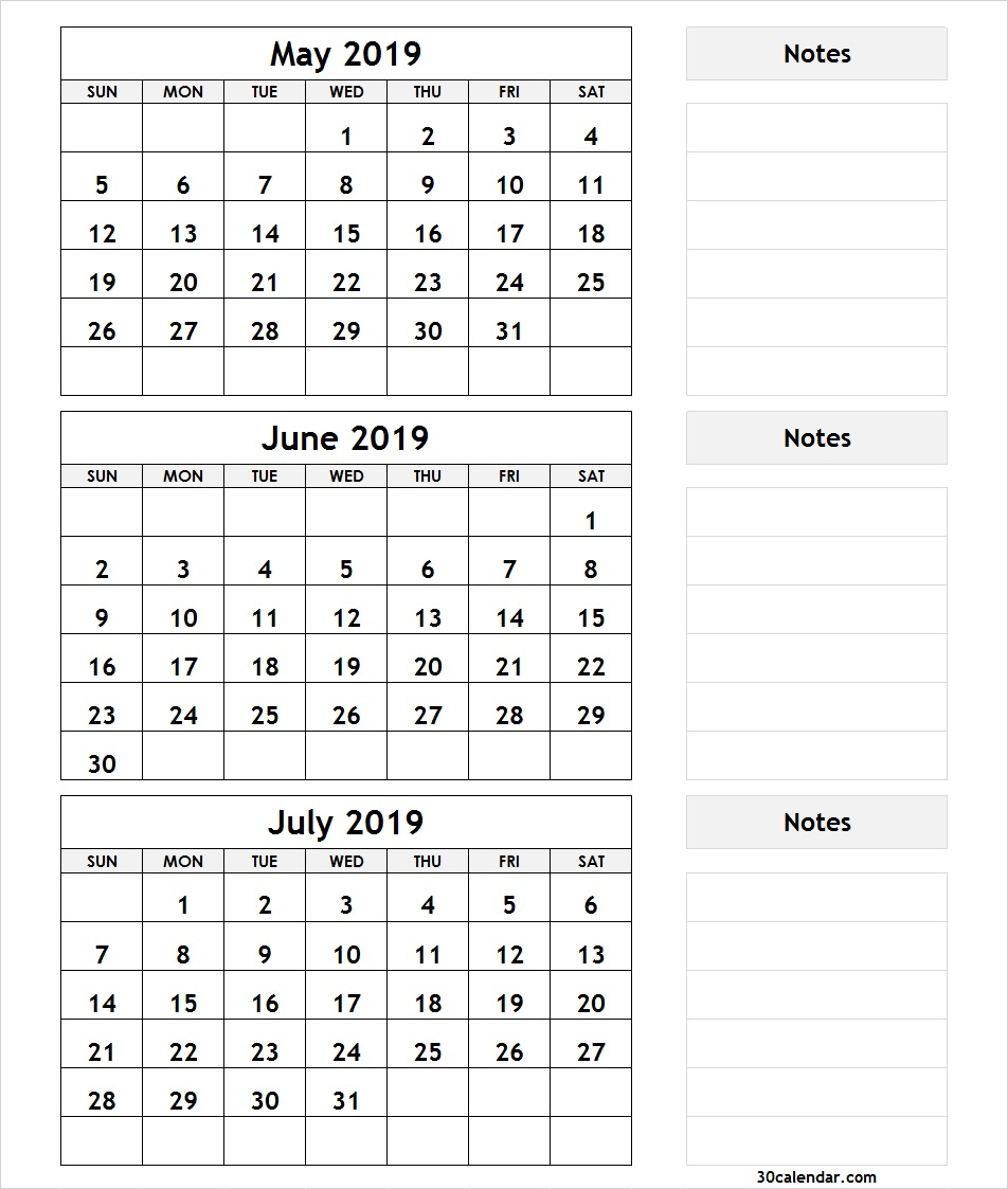 May June July 2019 Calendar | 3 Month Calendar Template with regard to 3 Month Calendar Templates May June July
