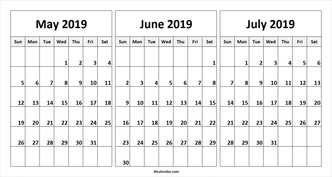May June July 2019 Calendar (3 Months) Templates Printable – May In within 3 Month Editable Calendar Template Printable