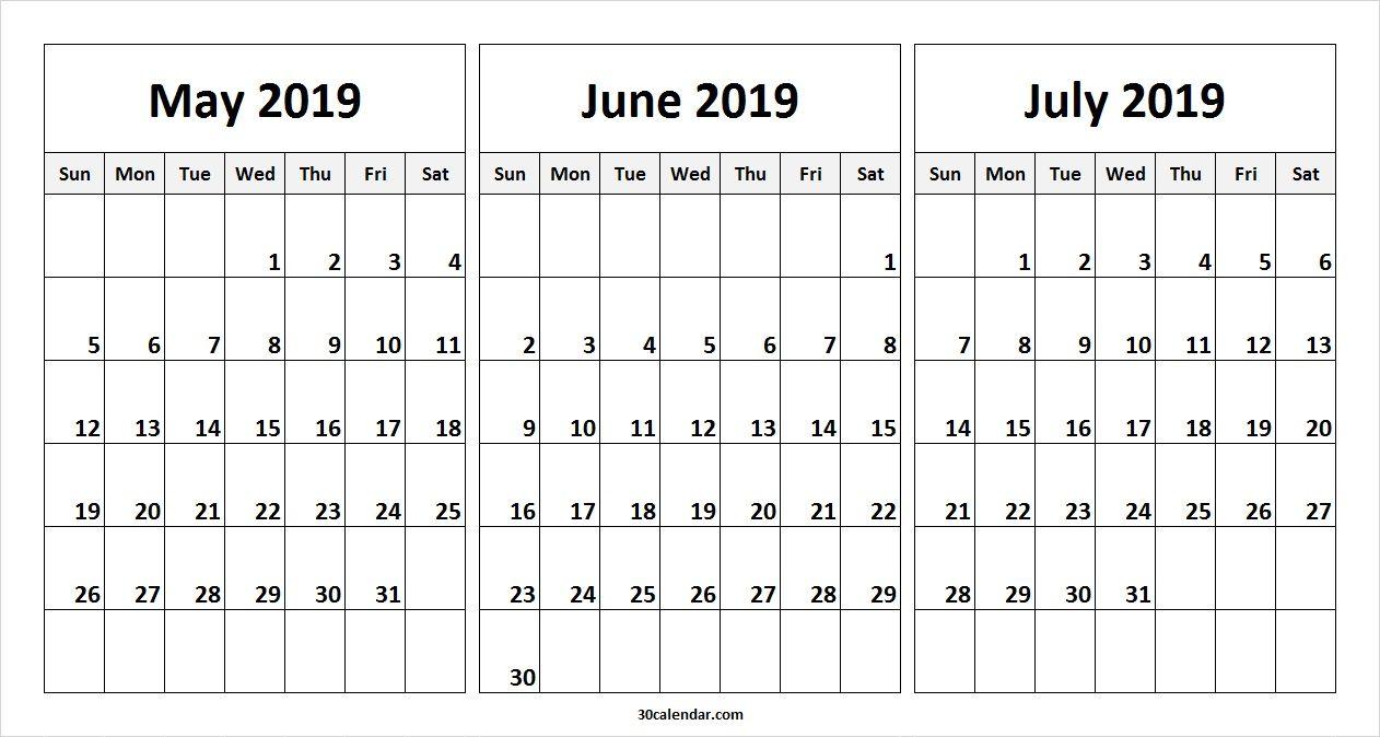 May June July 2019 Calendar Template | 2019 Calendars | 2019 inside Blank 3 Month Calendar Template